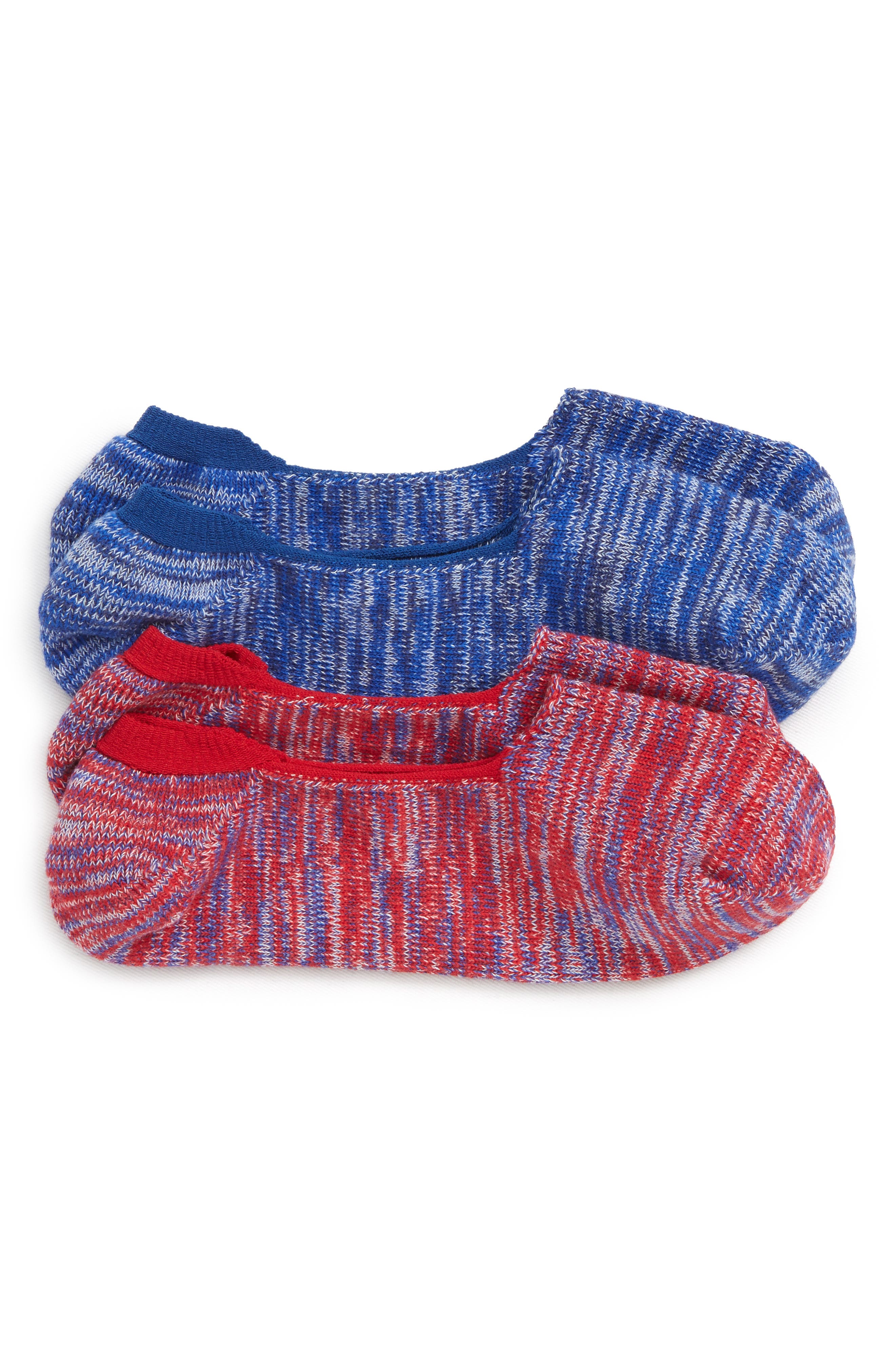 2-Pack Marl Loafer Liner Socks,                             Main thumbnail 1, color,                             RED MARL/ NAVY MARL
