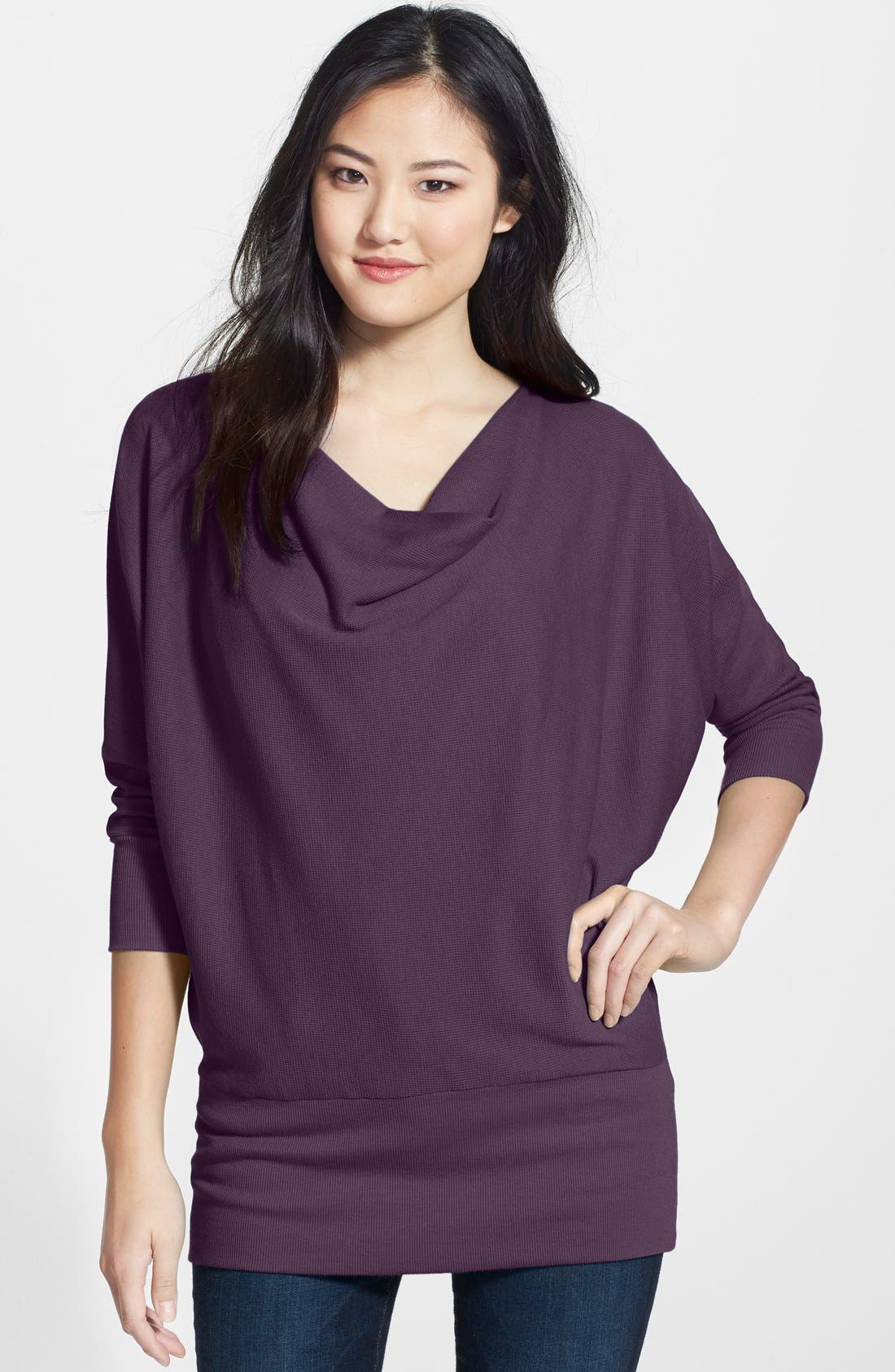 'Aidan' Drape Neck Thermal Top,                             Main thumbnail 6, color,