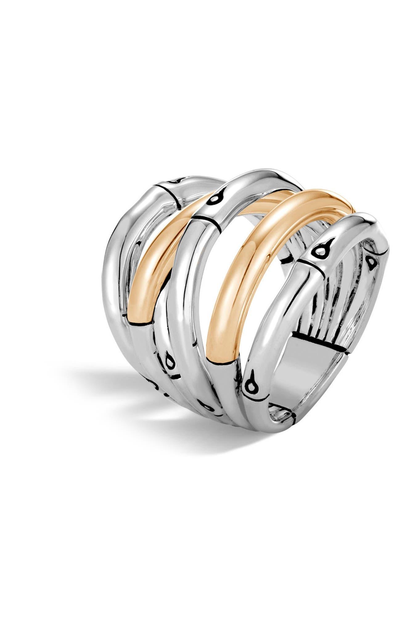 Bamboo 18-Karat Gold Sterling Silver Stack Ring,                             Main thumbnail 1, color,                             SILVER/ GOLD