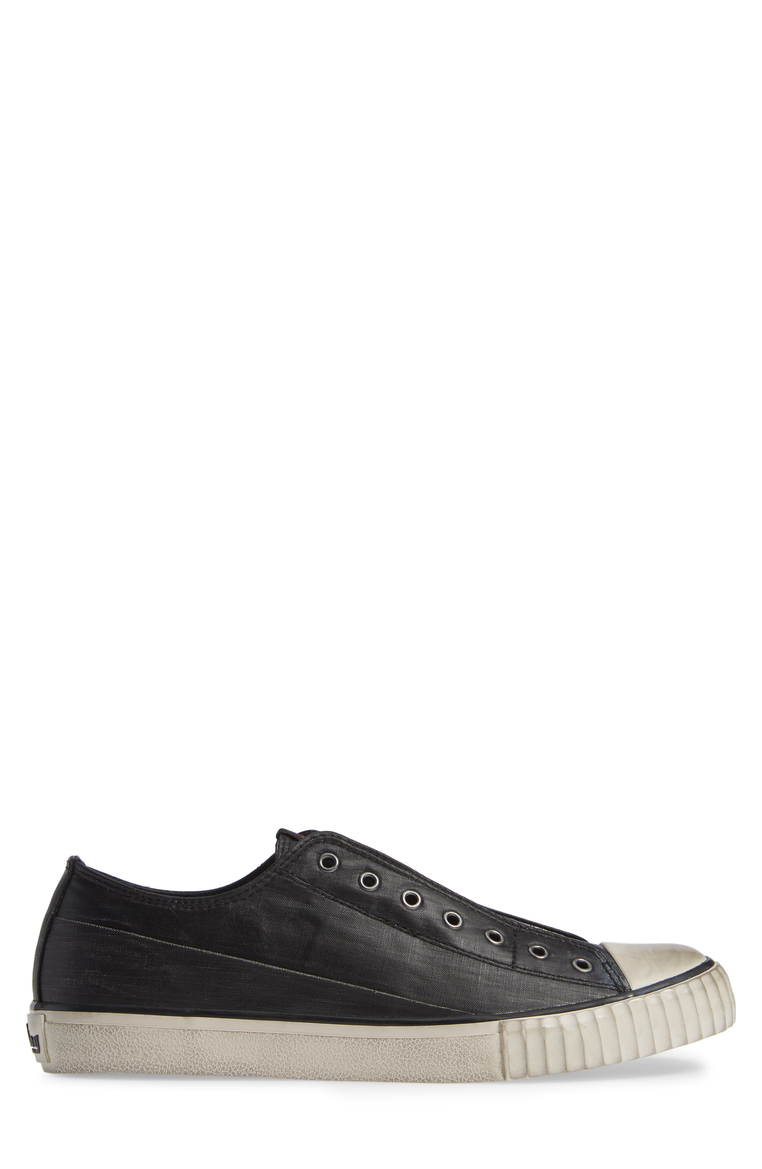 Bootleg Linen Laceless Sneaker,                             Alternate thumbnail 3, color,                             BLACK COATED LINEN