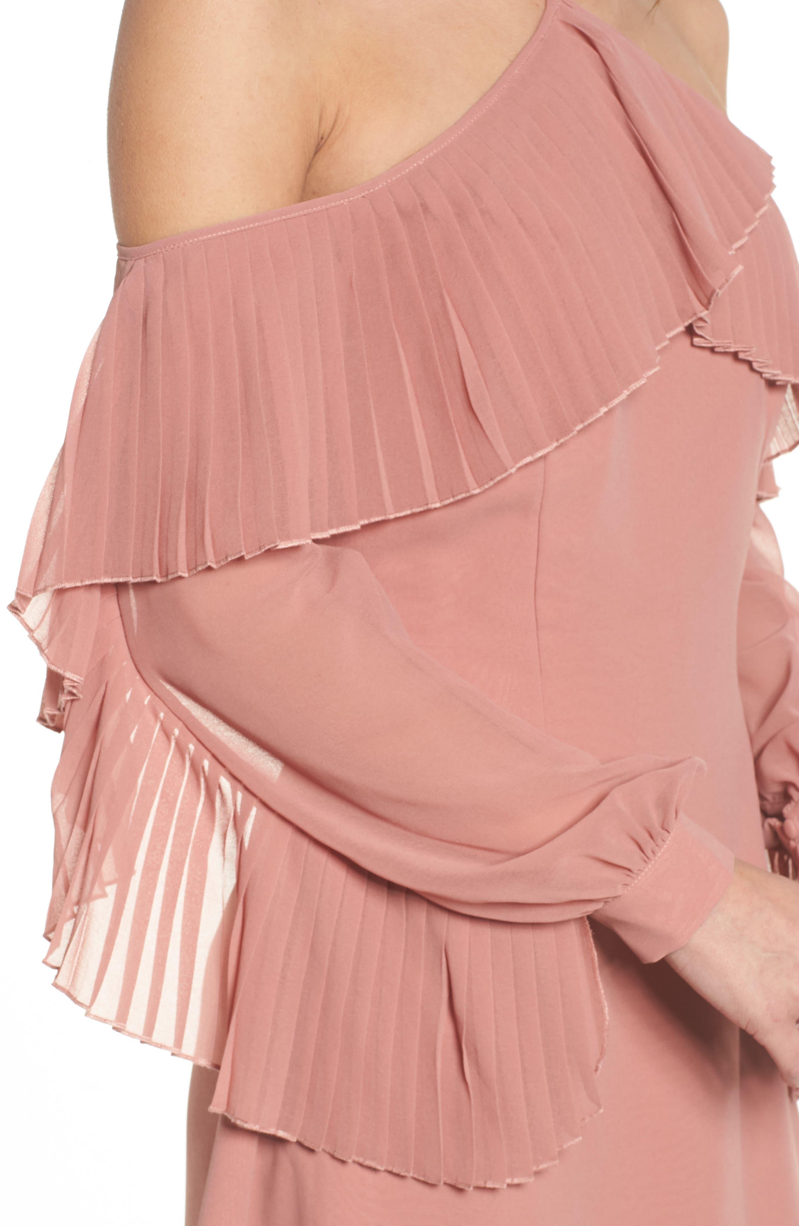 Last Dance Pleated Ruffle Minidress,                             Alternate thumbnail 4, color,