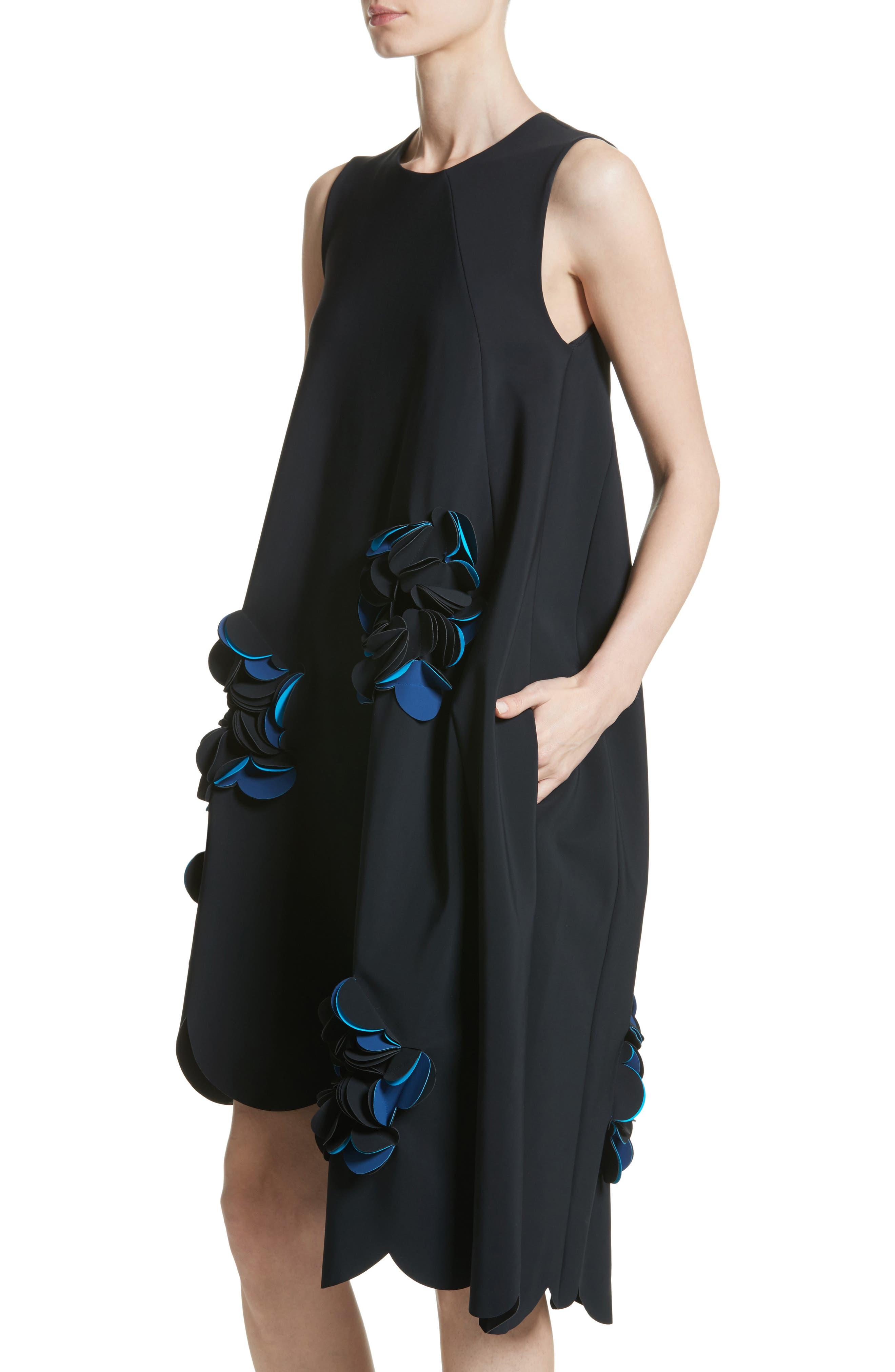 Appliqué Scallop Hem Dress,                             Alternate thumbnail 4, color,                             001