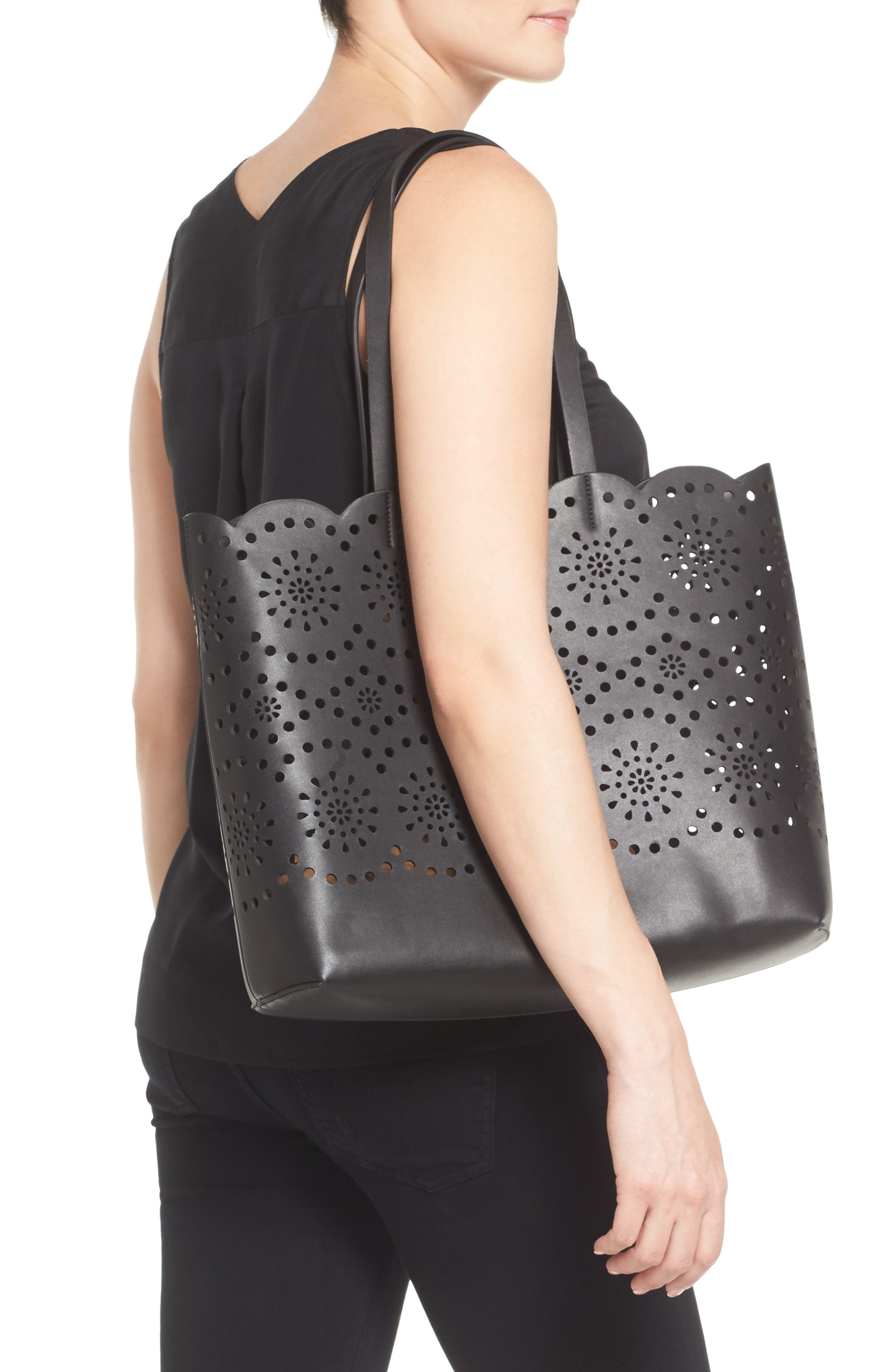 Lily Scallop Faux Leather Tote,                             Alternate thumbnail 2, color,                             001