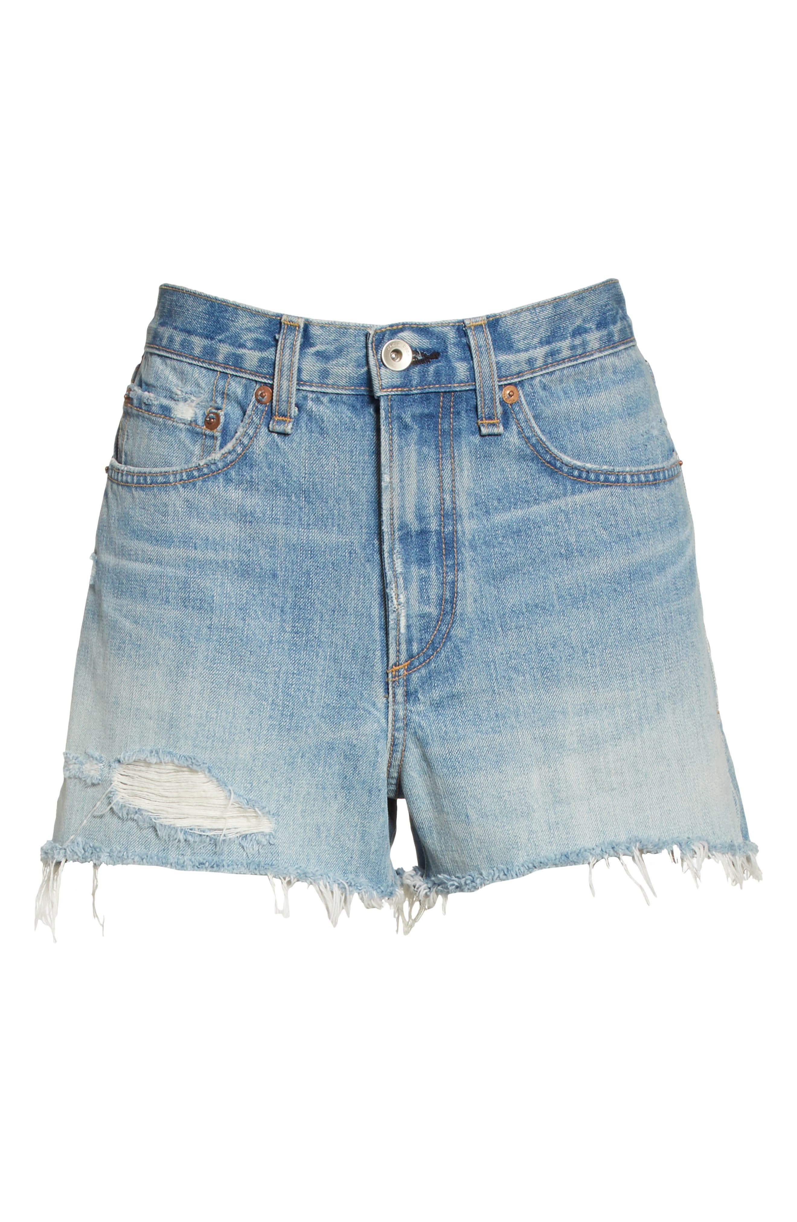 Justine High Waist Cutoff Denim Shorts,                             Alternate thumbnail 6, color,                             450