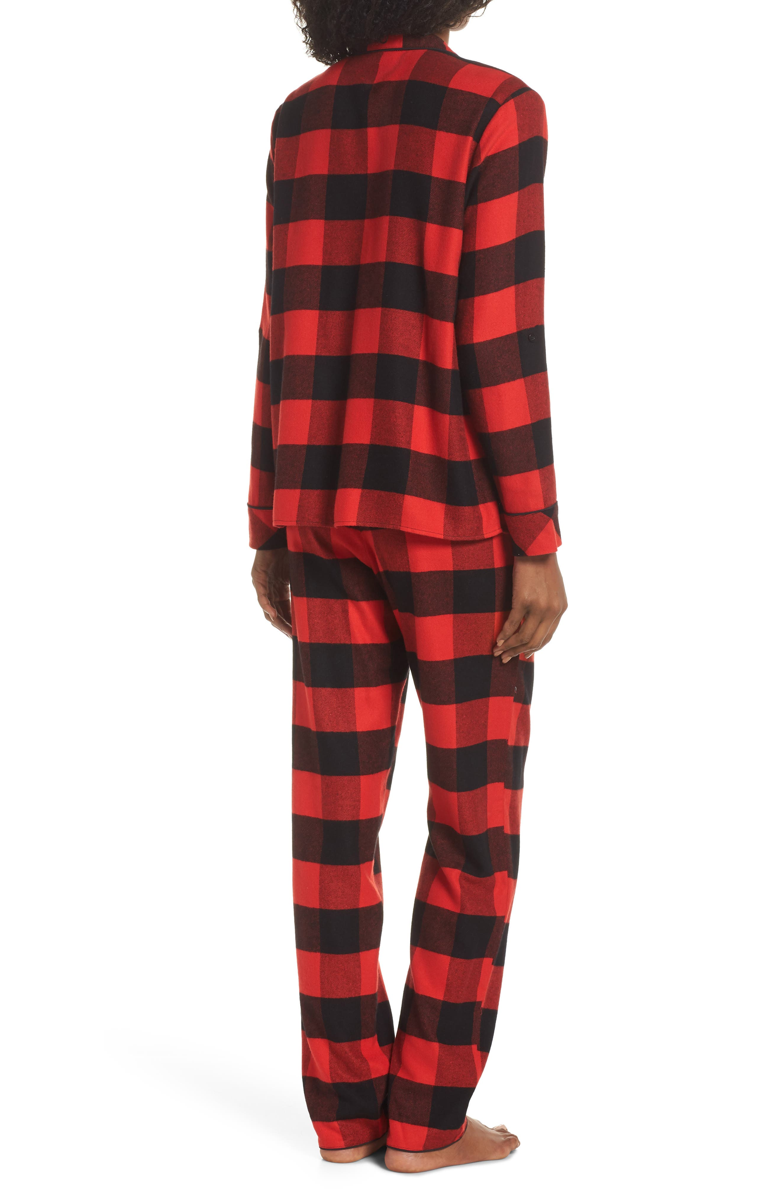 Lingerie Starlight Flannel Pajamas,                             Alternate thumbnail 2, color,                             RED BLOOM LARGE BUFFALO CHECK