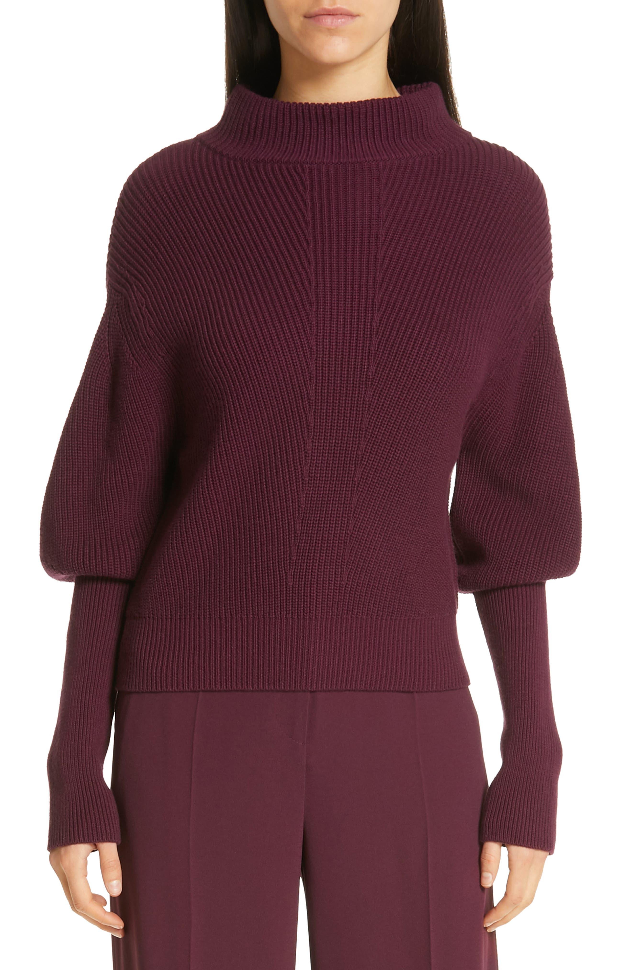 Flix Balloon Sleeve Sweater, Main, color, DARK BERRY