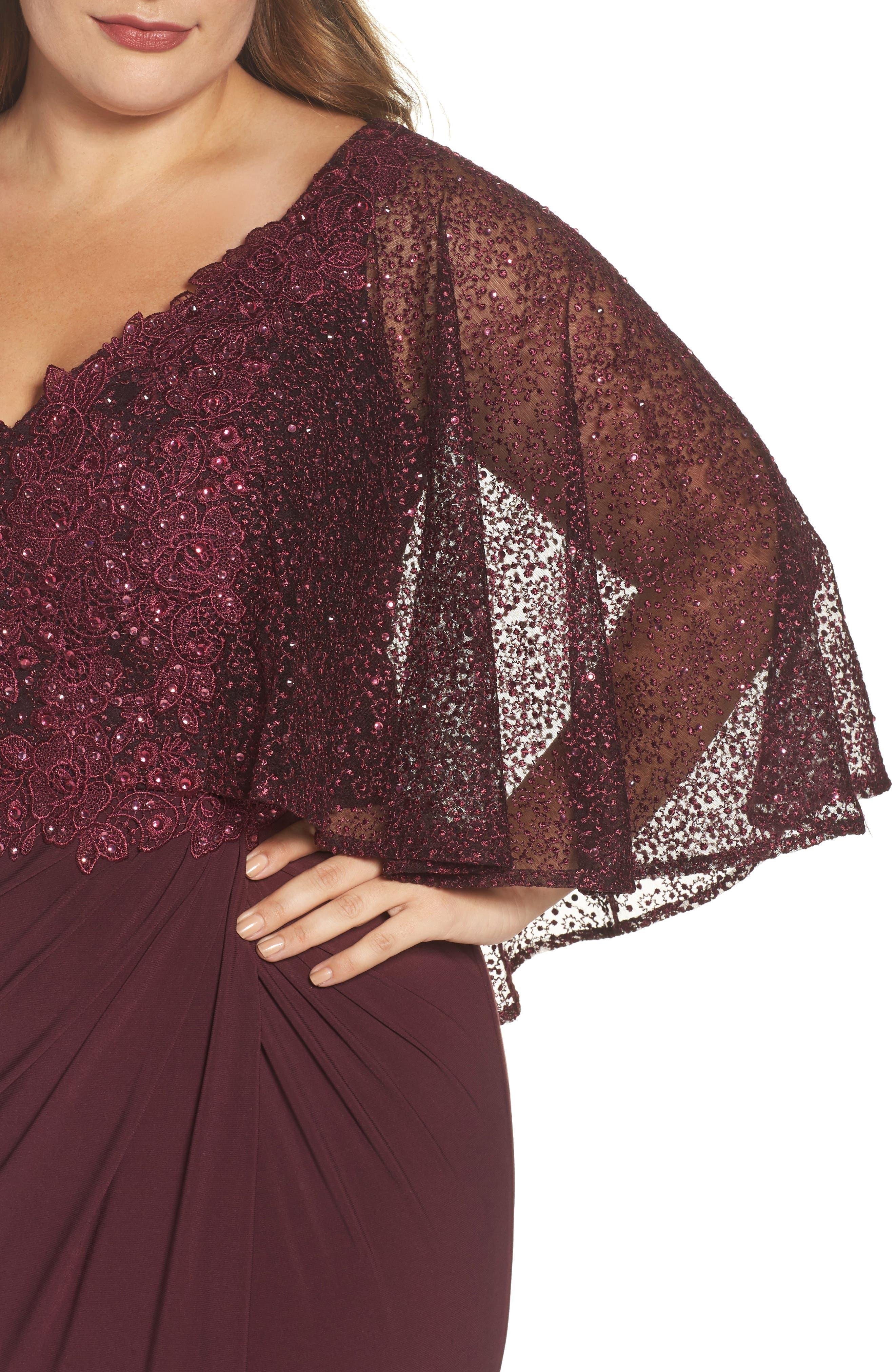 Lace Capelet Column Gown,                             Alternate thumbnail 4, color,                             BURGUNDY