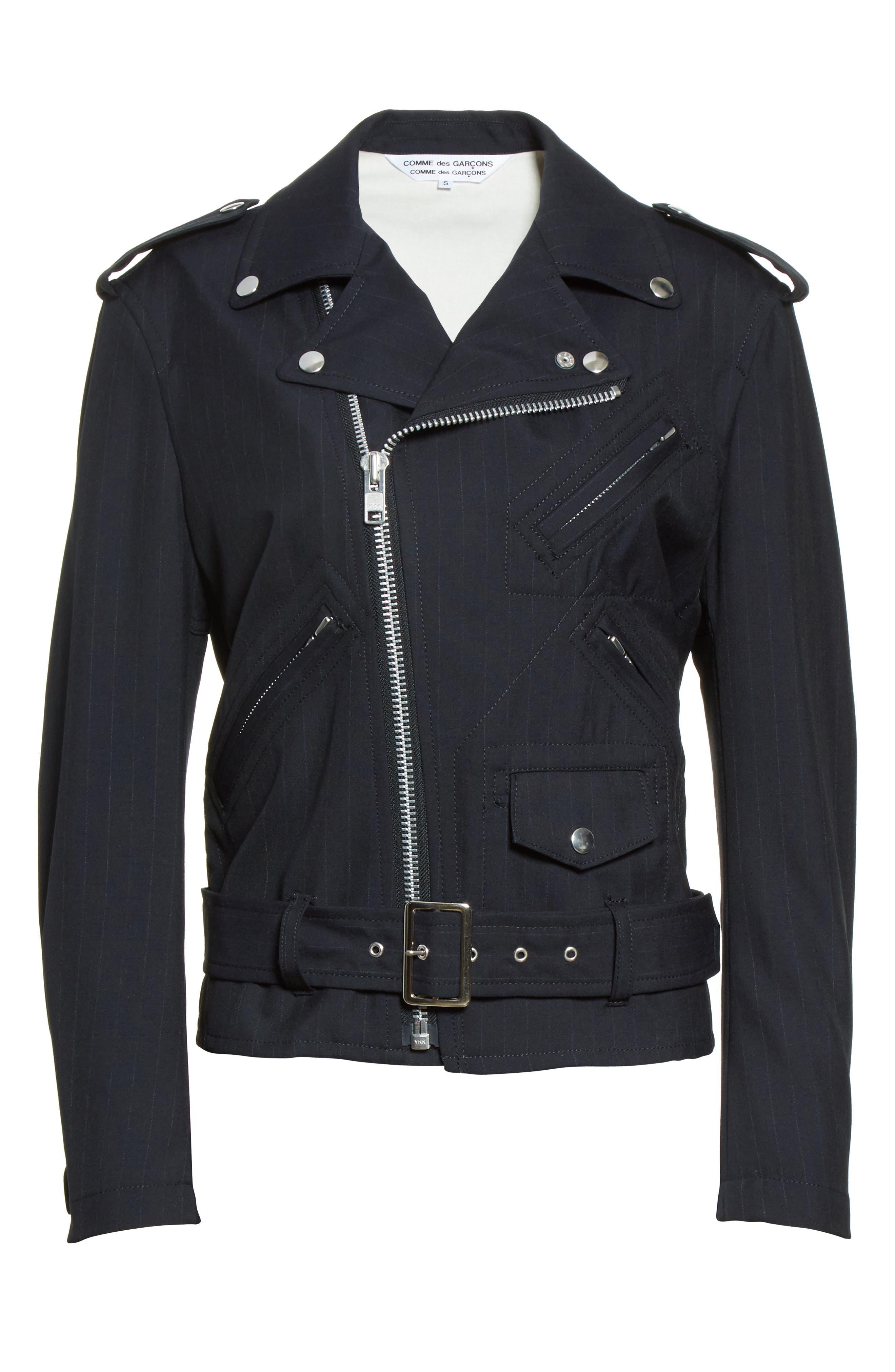 Pinstripe Tropical Wool Moto Jacket,                             Alternate thumbnail 5, color,                             410