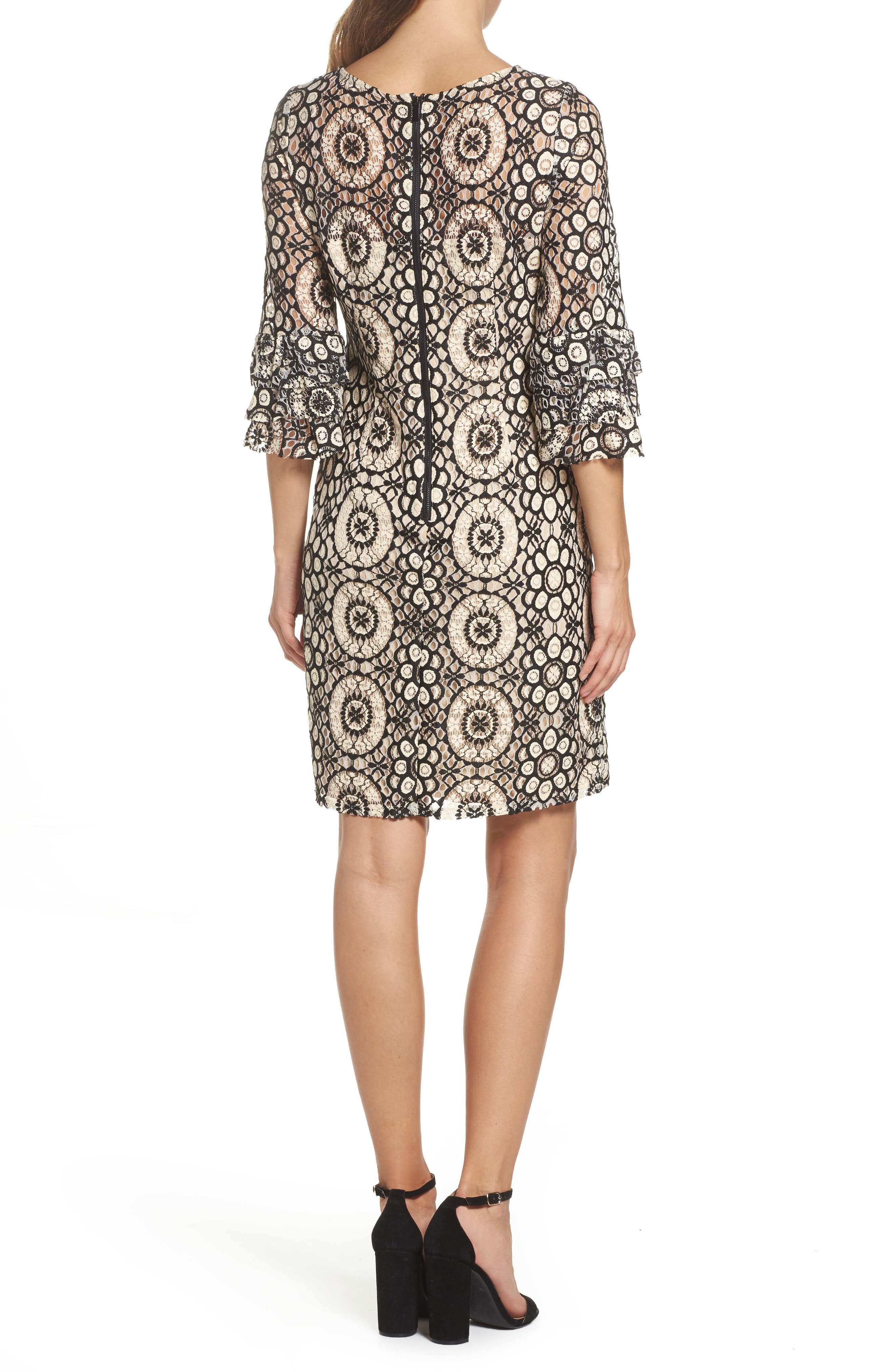 Tiered Sleeve Lace Shift Dress,                             Alternate thumbnail 2, color,                             901