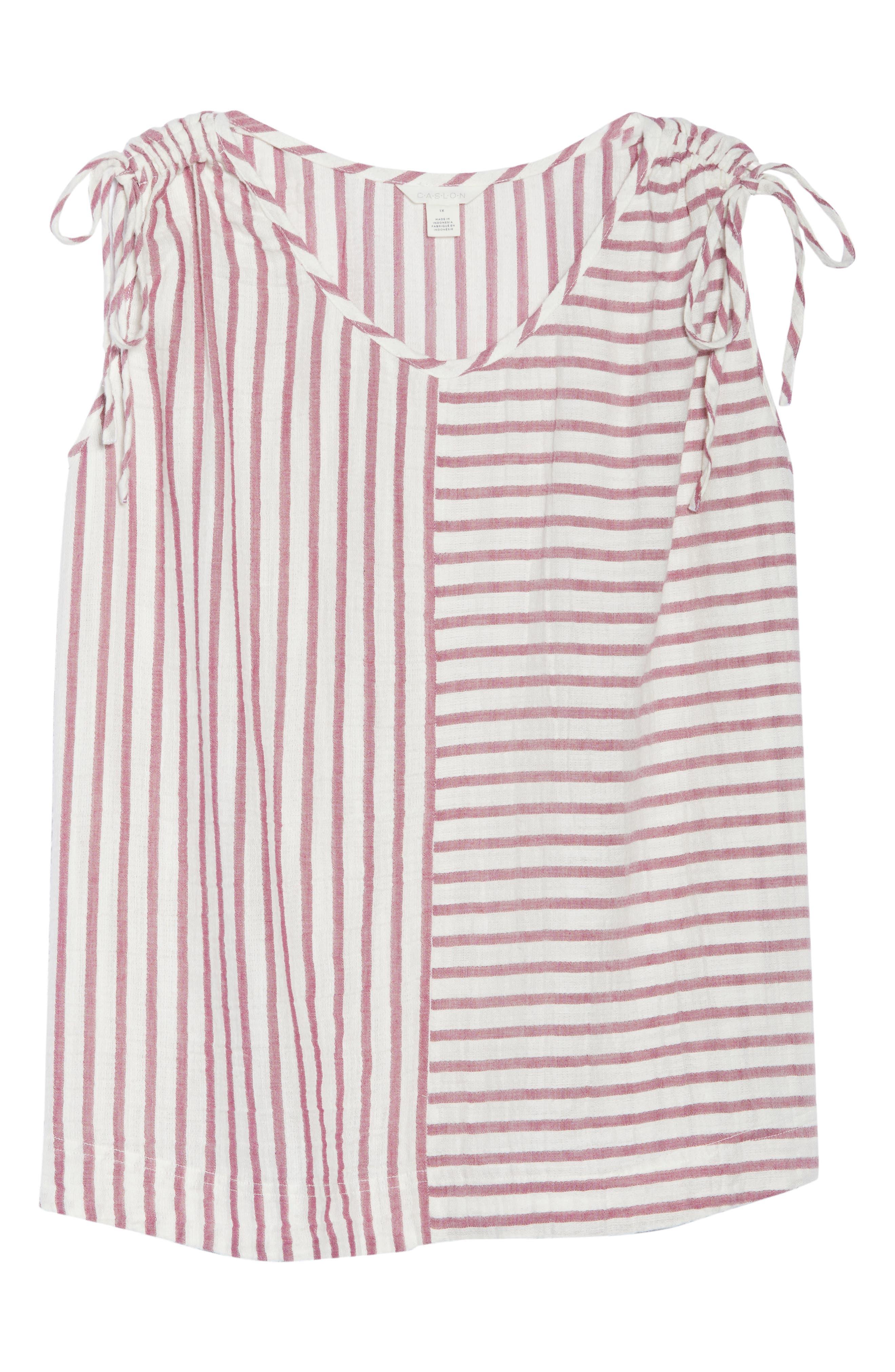 Tie Shoulder Stripe Tank,                             Alternate thumbnail 7, color,                             IVORY- PURPLE STRIPE