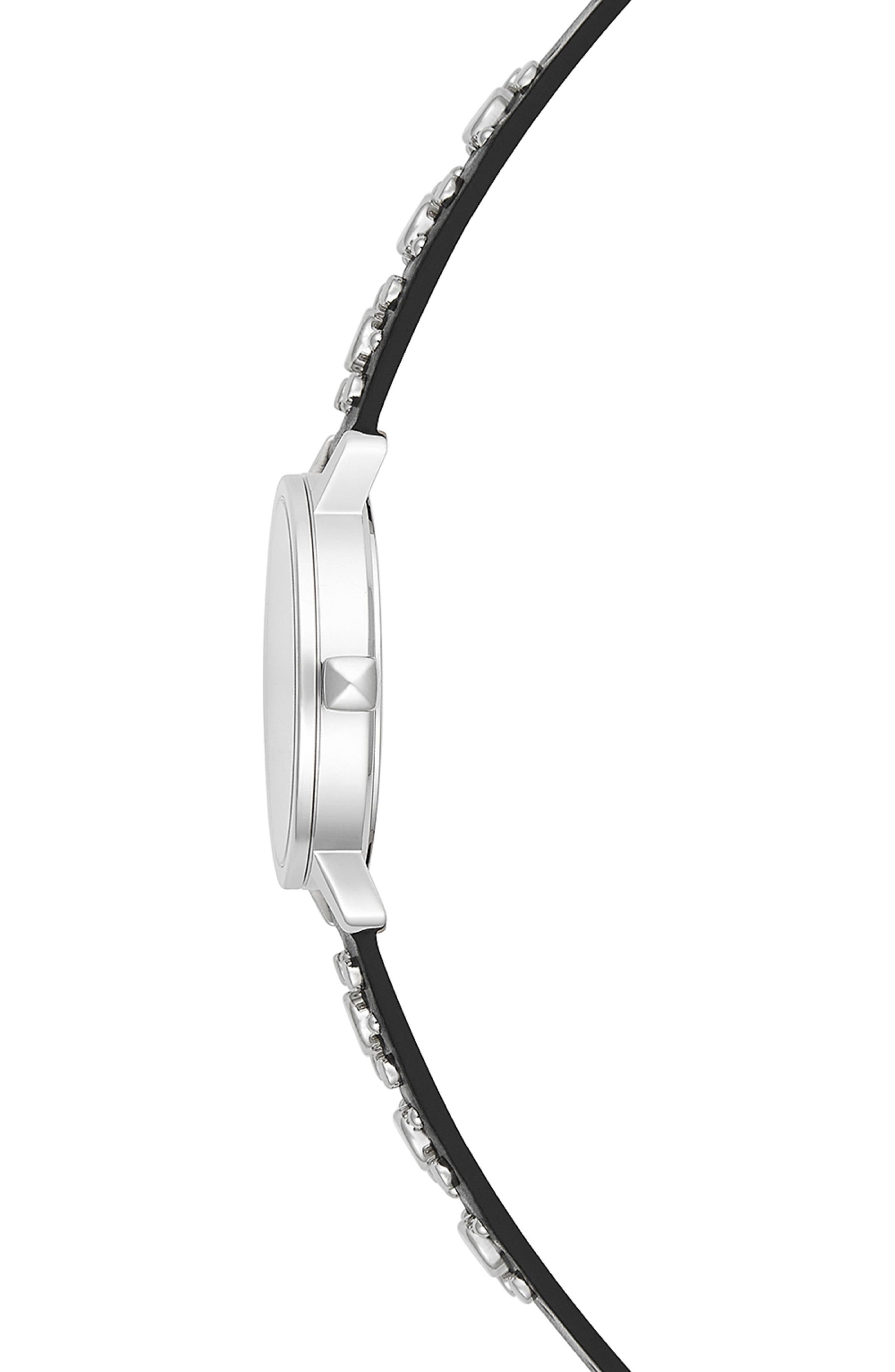 REBECCA MINKOFF,                             BFFL Studded Leather Strap Watch, 36mm,                             Alternate thumbnail 3, color,                             BLACK/ SILVER WHITE/ SILVER
