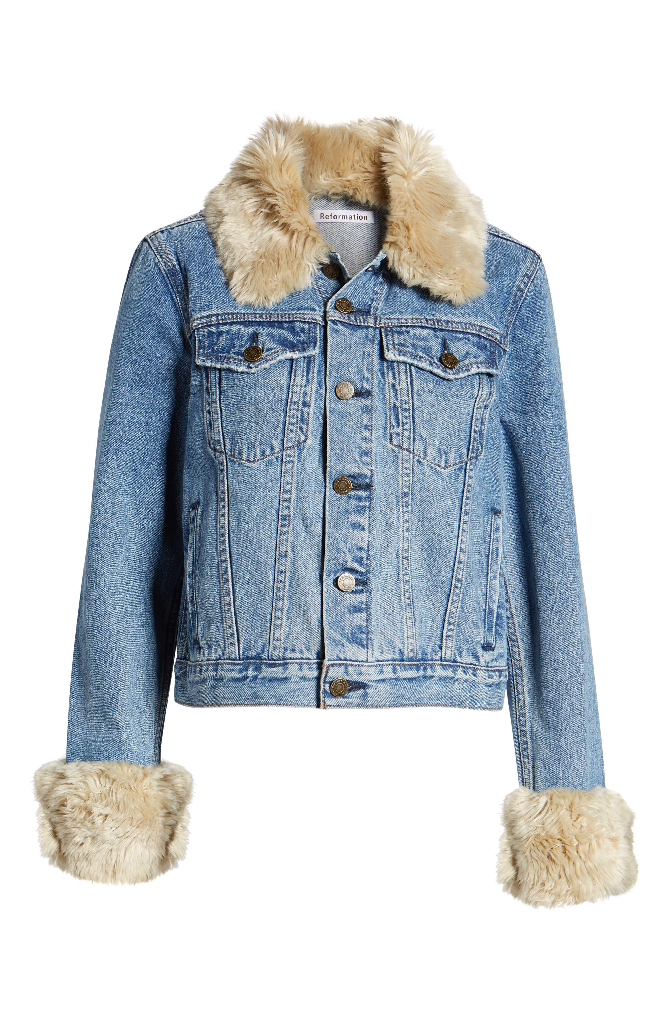 Aussie Faux Fur Trim Denim Jacket,                             Alternate thumbnail 6, color,                             400
