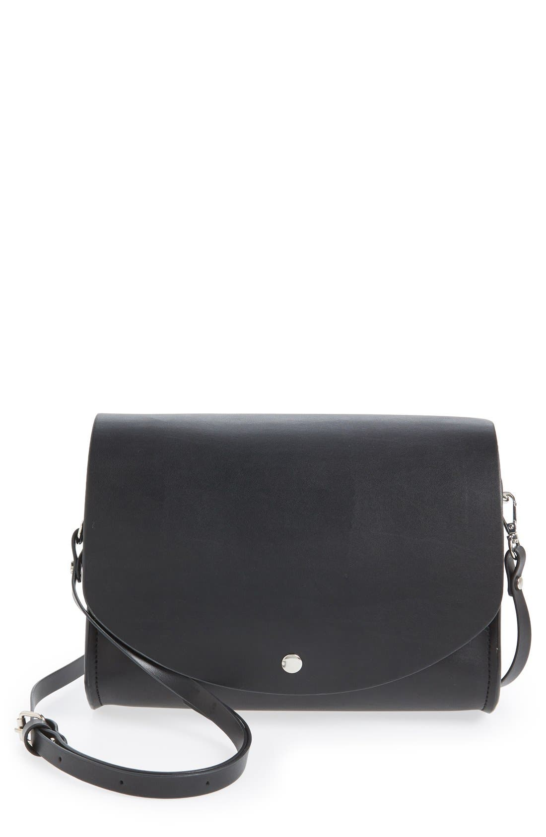 CESCA Faux Leather Crossbody Bag, Main, color, 001