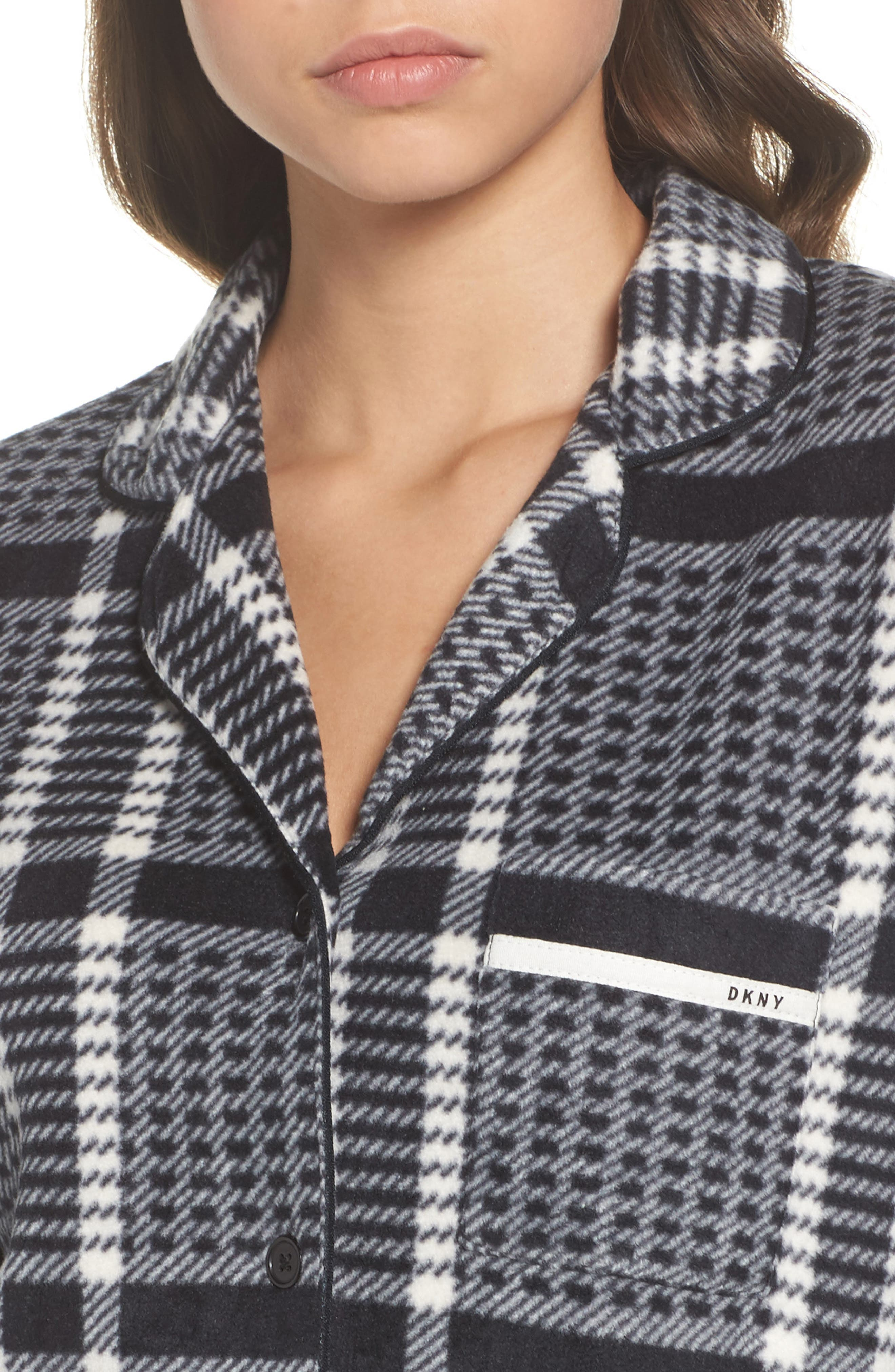 Stretch Fleece Long Pajamas,                             Alternate thumbnail 4, color,                             005