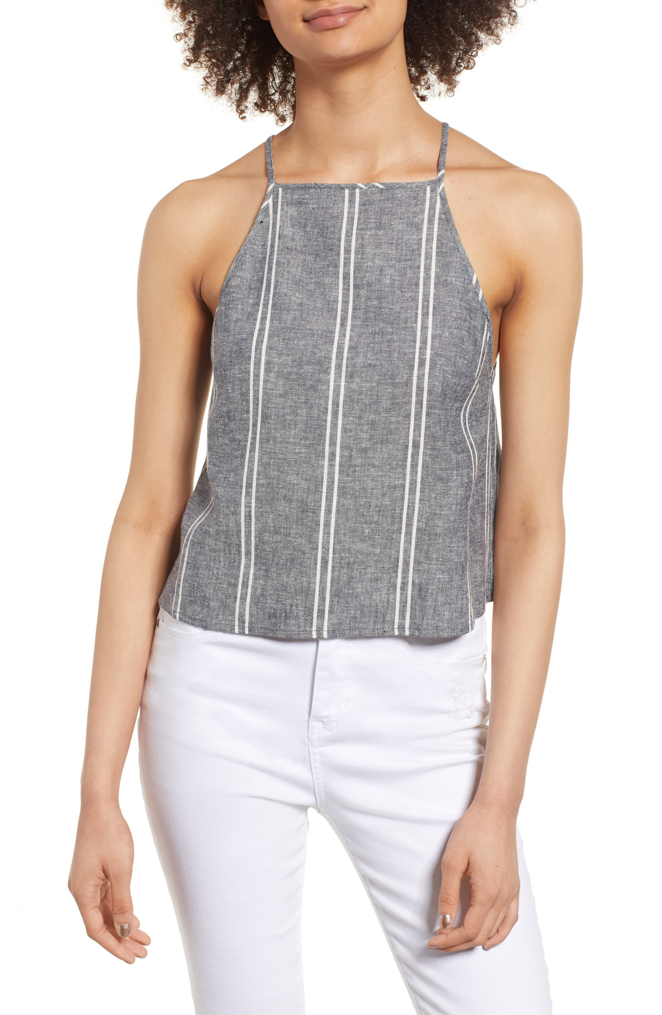 Stripe Linen Blend Tank,                         Main,                         color, NAVY PEACOAT CHAMBRAY STRIPE
