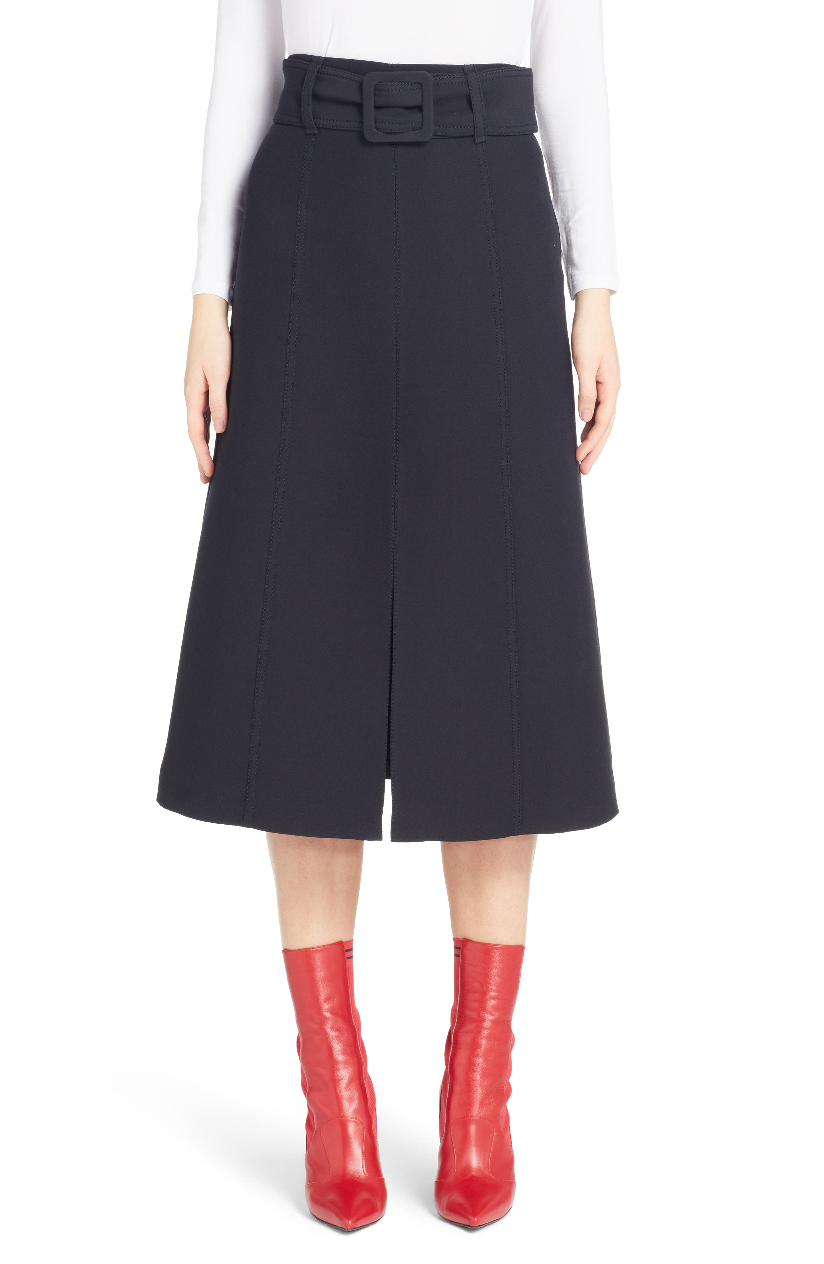 Wool & Silk Belted A-Line Skirt,                             Main thumbnail 1, color,                             001