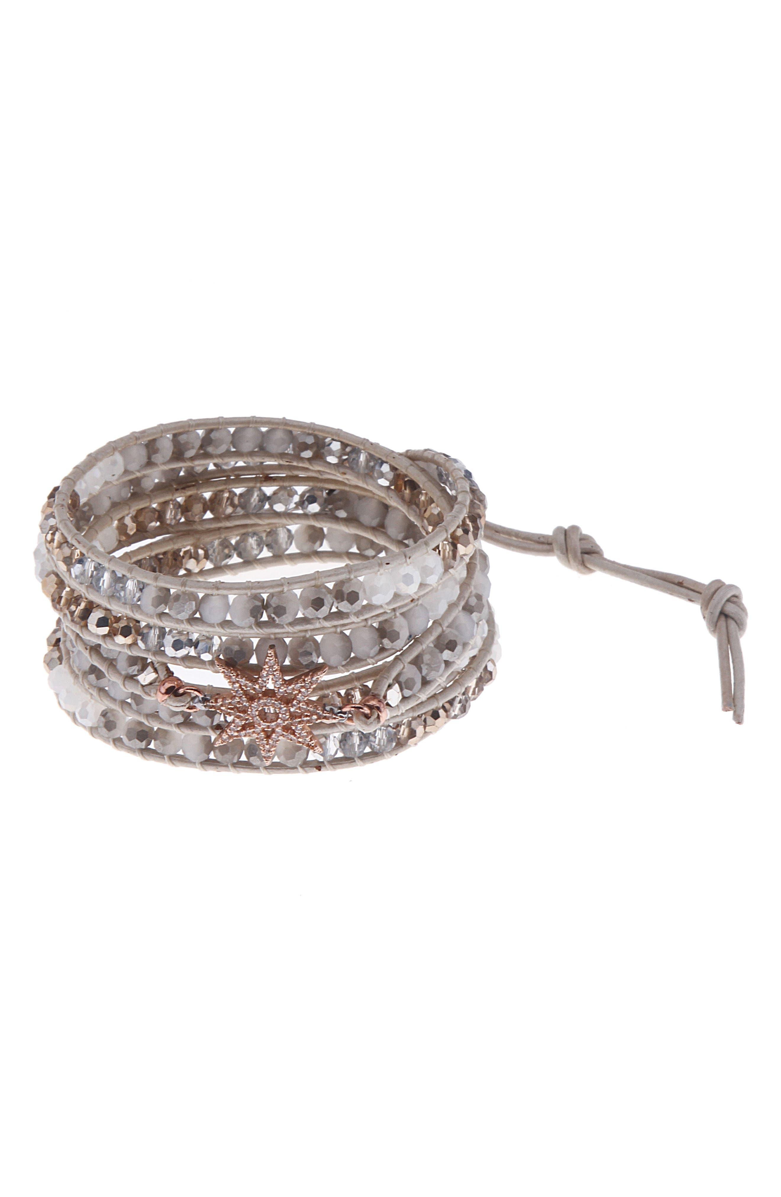 Crystal Charm Wrap Bracelet,                             Main thumbnail 1, color,                             023