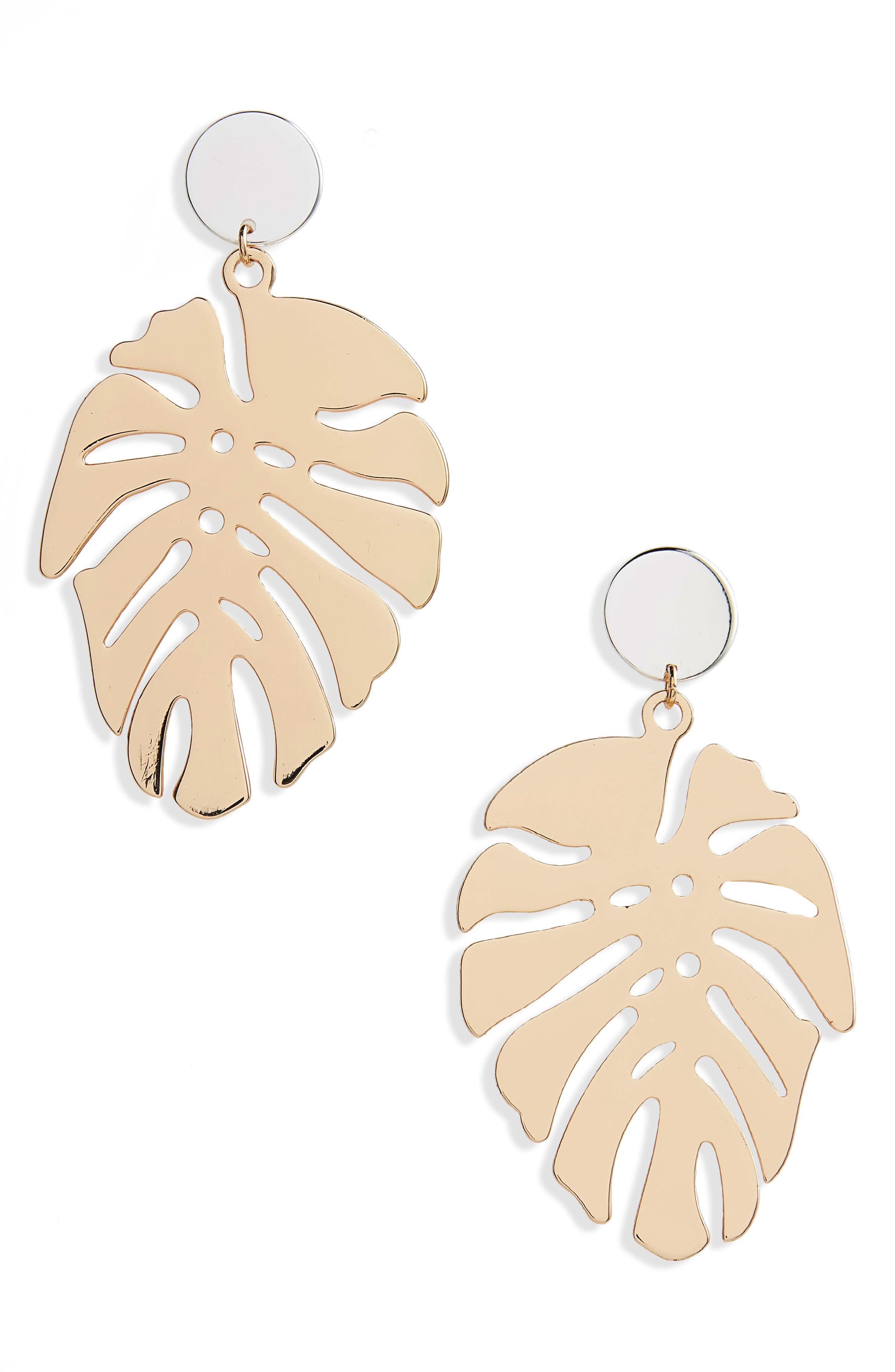Palm Leaf Drop Earrings,                         Main,                         color,
