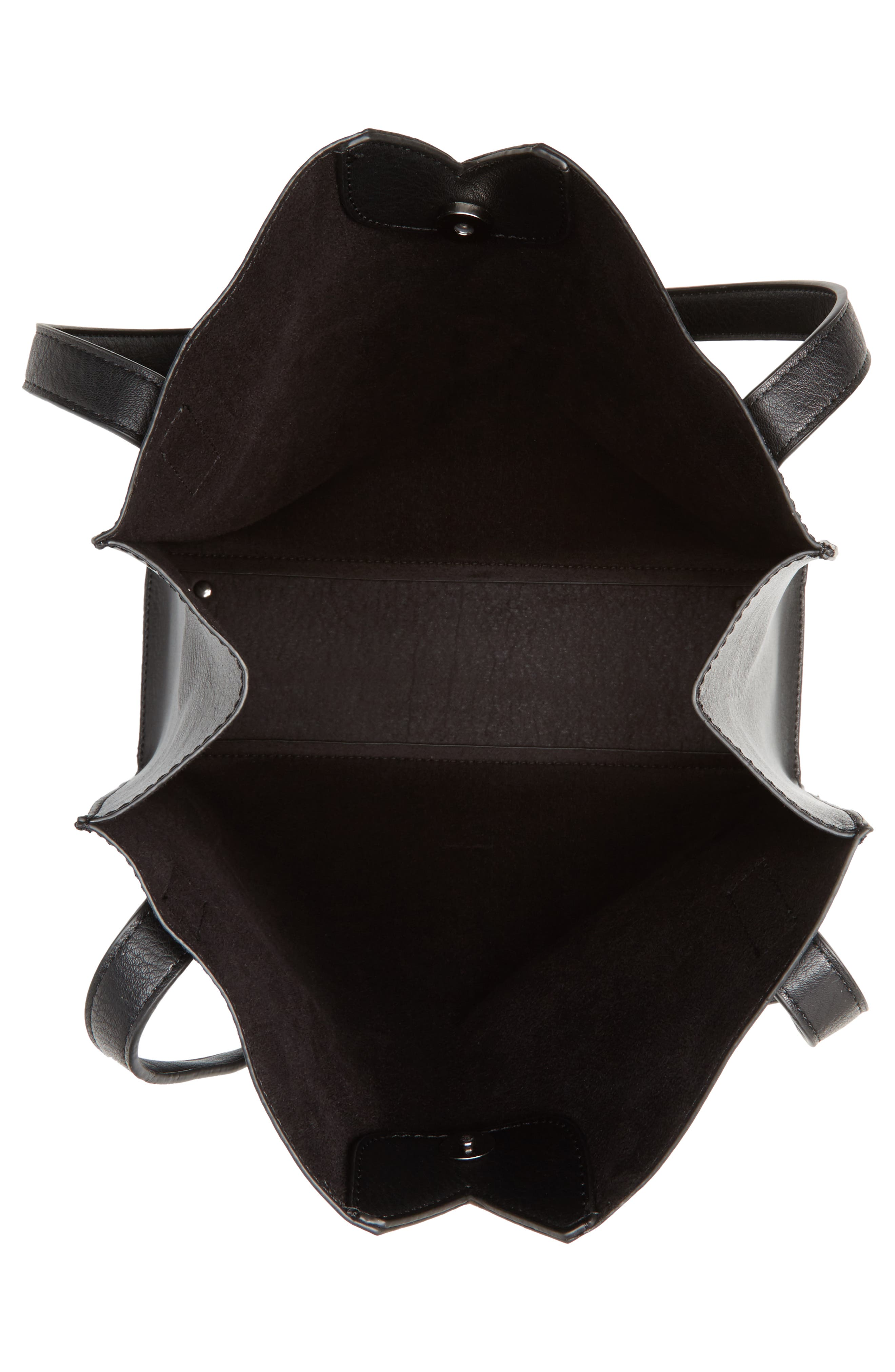 Alicia Faux Leather Tote Bag & Pouch Set,                             Alternate thumbnail 4, color,                             001