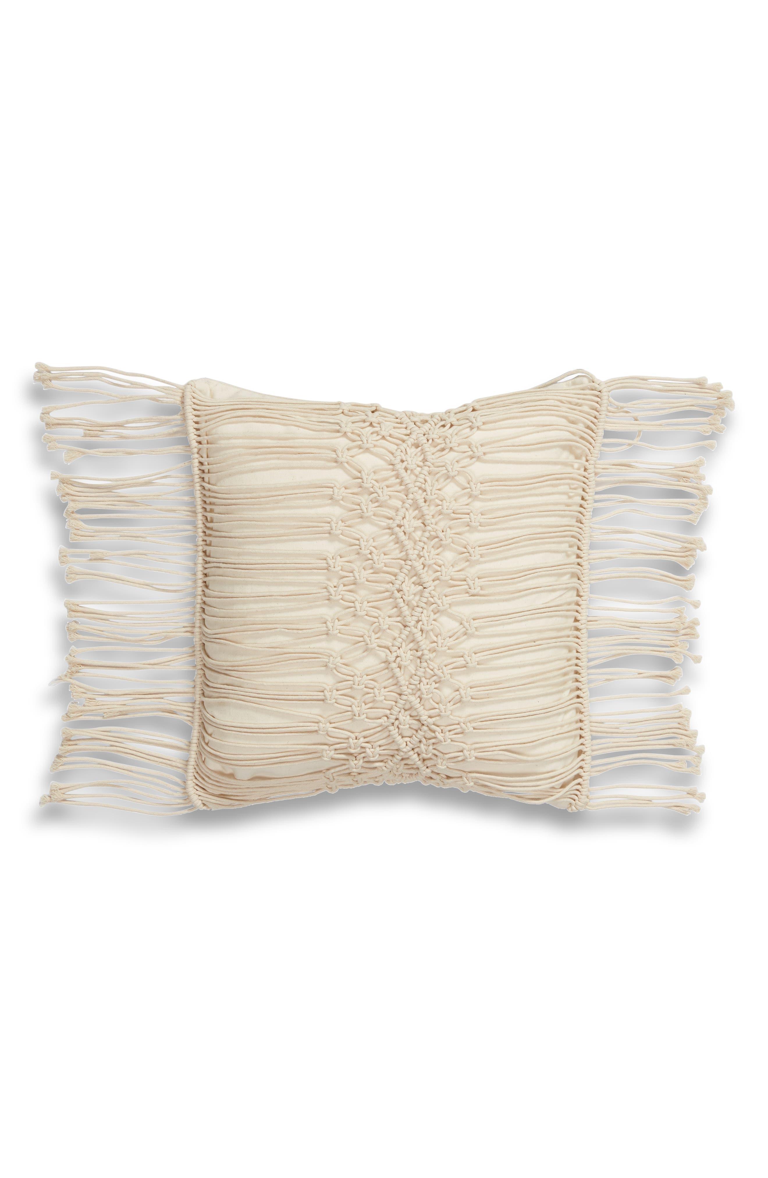 Ayla Macramé Accent Pillow,                             Main thumbnail 1, color,                             NATURAL