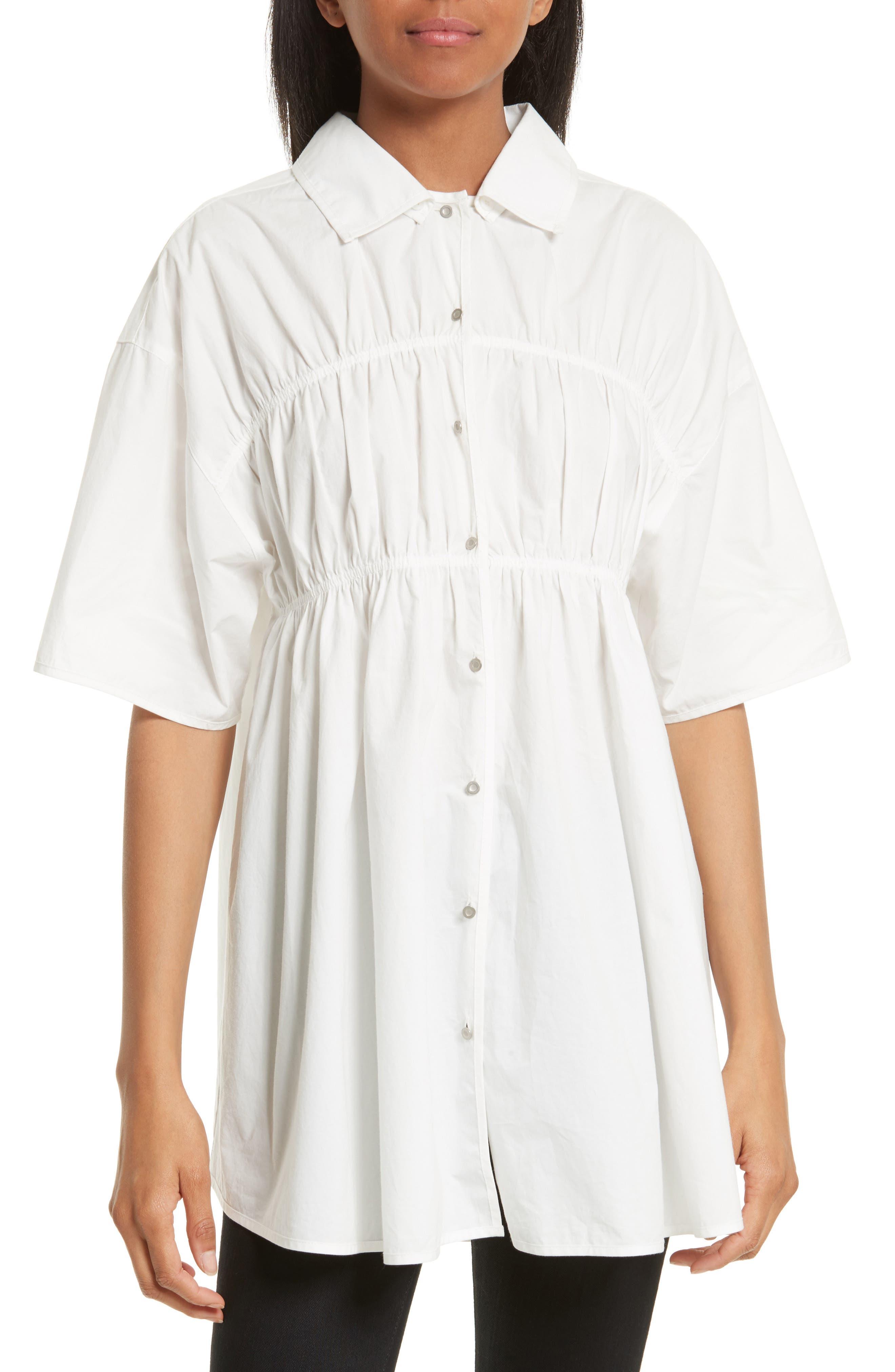 Gathered Poplin Shirt,                             Main thumbnail 1, color,                             100