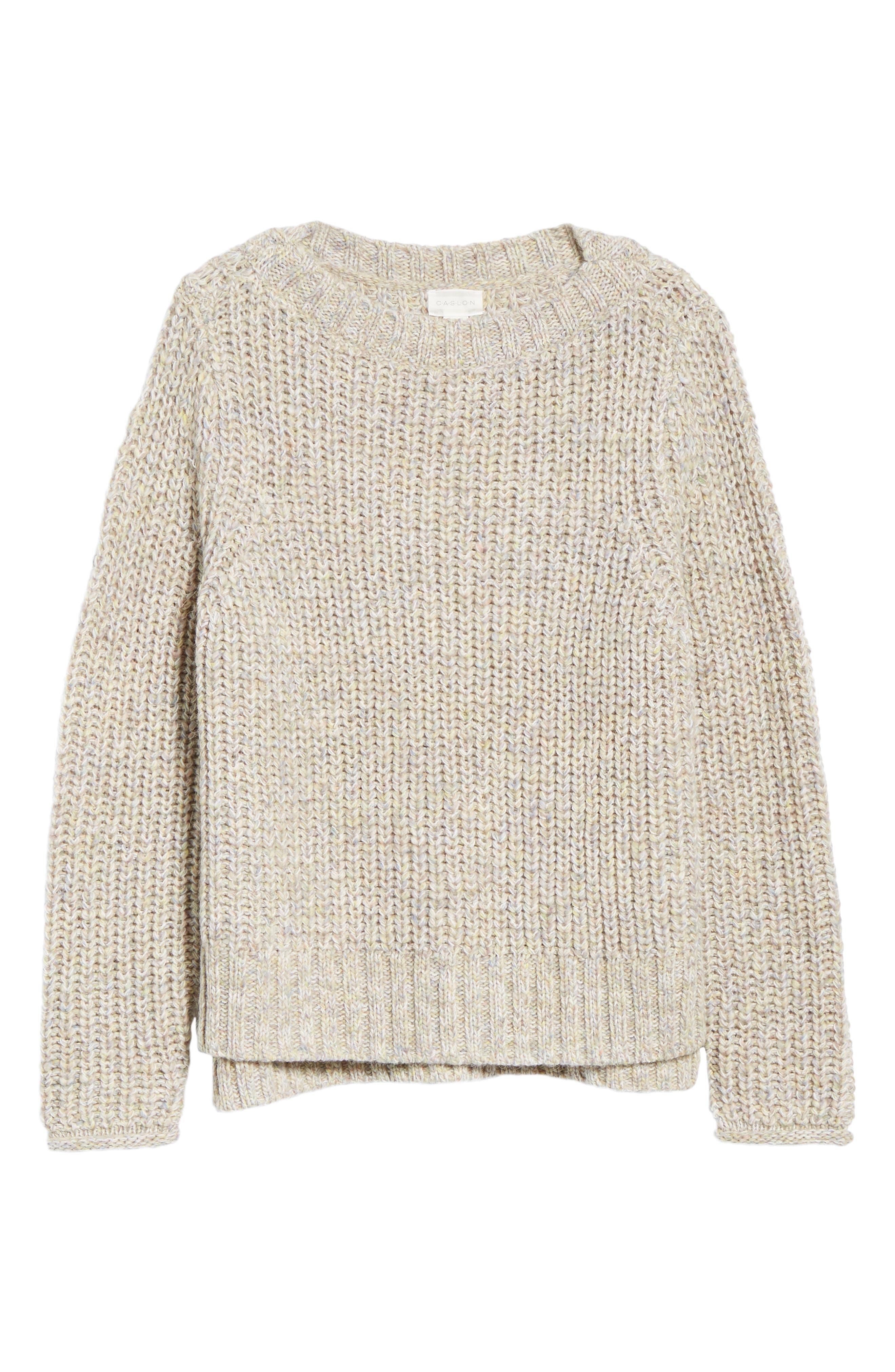 Boat Neck Sweater,                             Alternate thumbnail 6, color,                             BEIGE POPCORN PATTERN