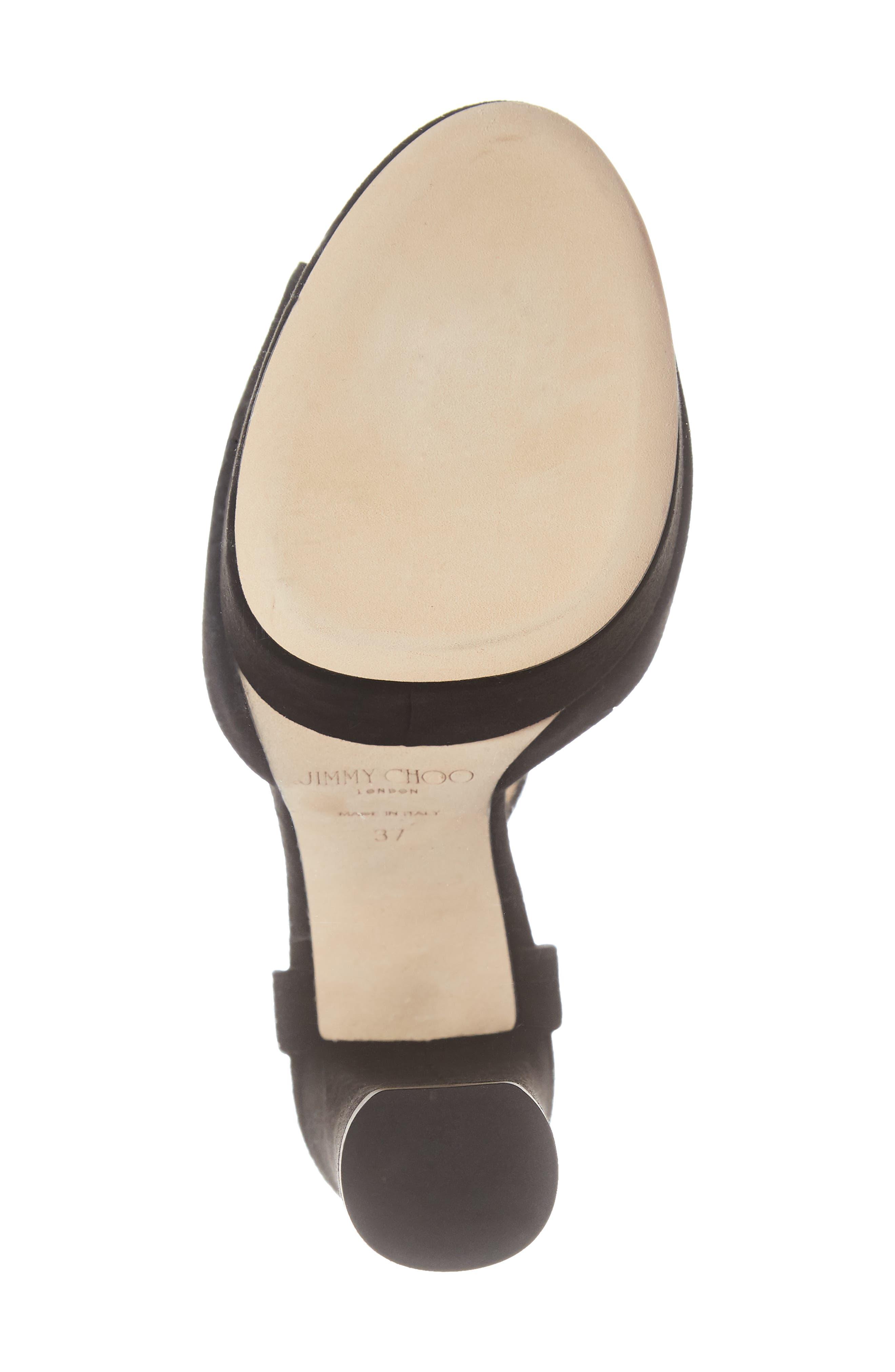 Peachy Platform Sandal,                             Alternate thumbnail 6, color,                             BLACK SUEDE