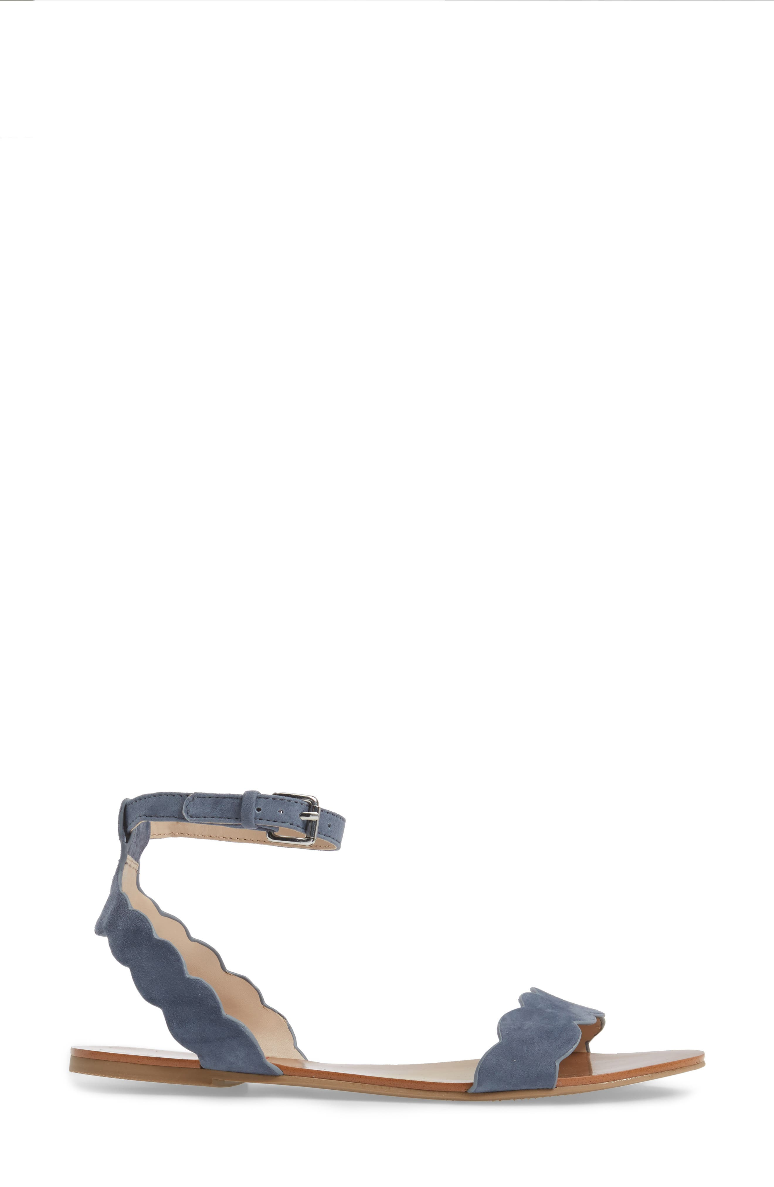 'Odette' Scalloped Ankle Strap Flat Sandal,                             Alternate thumbnail 20, color,