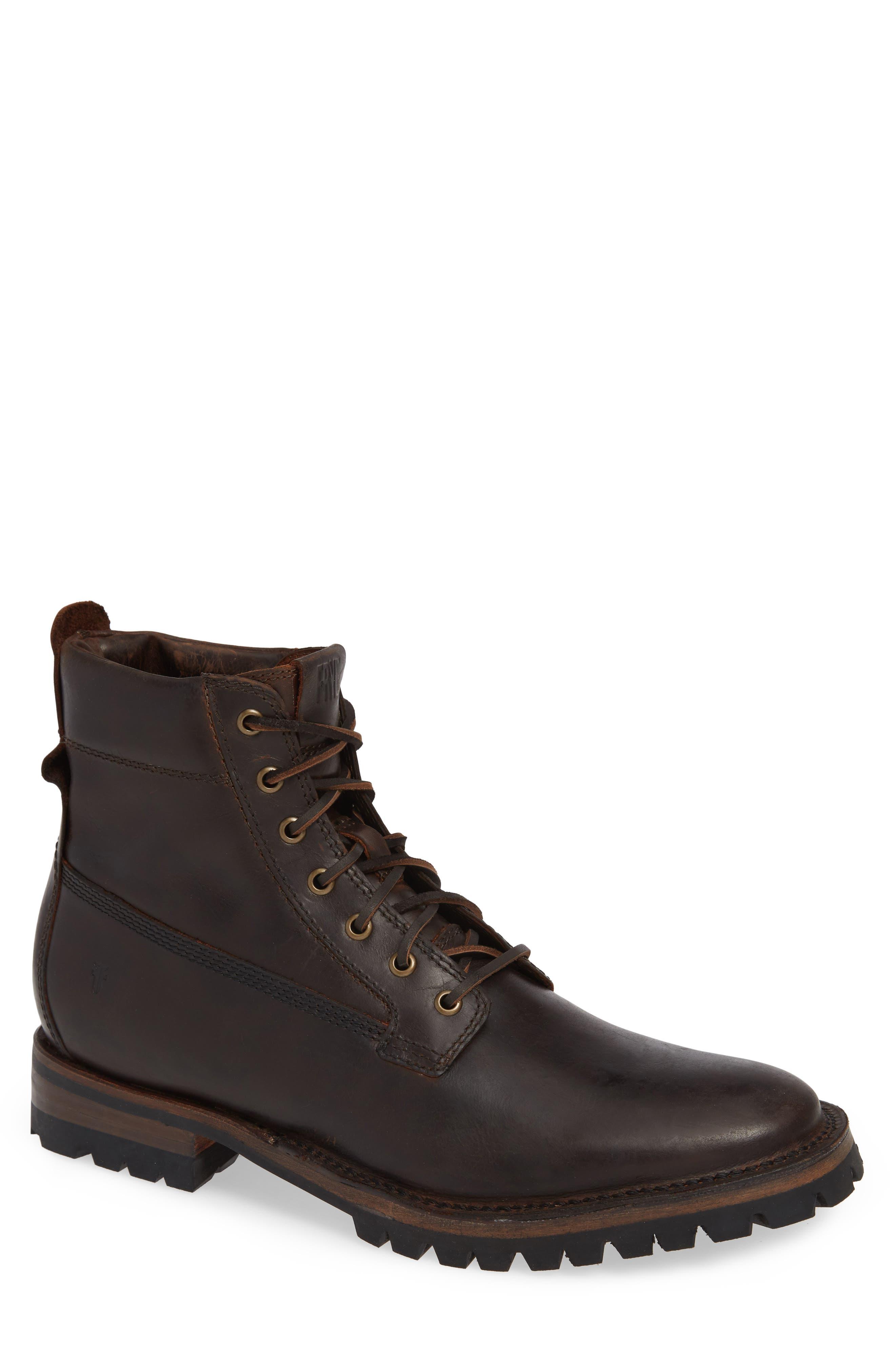 Union Plain Toe Boot,                             Main thumbnail 1, color,                             DARK BROWN