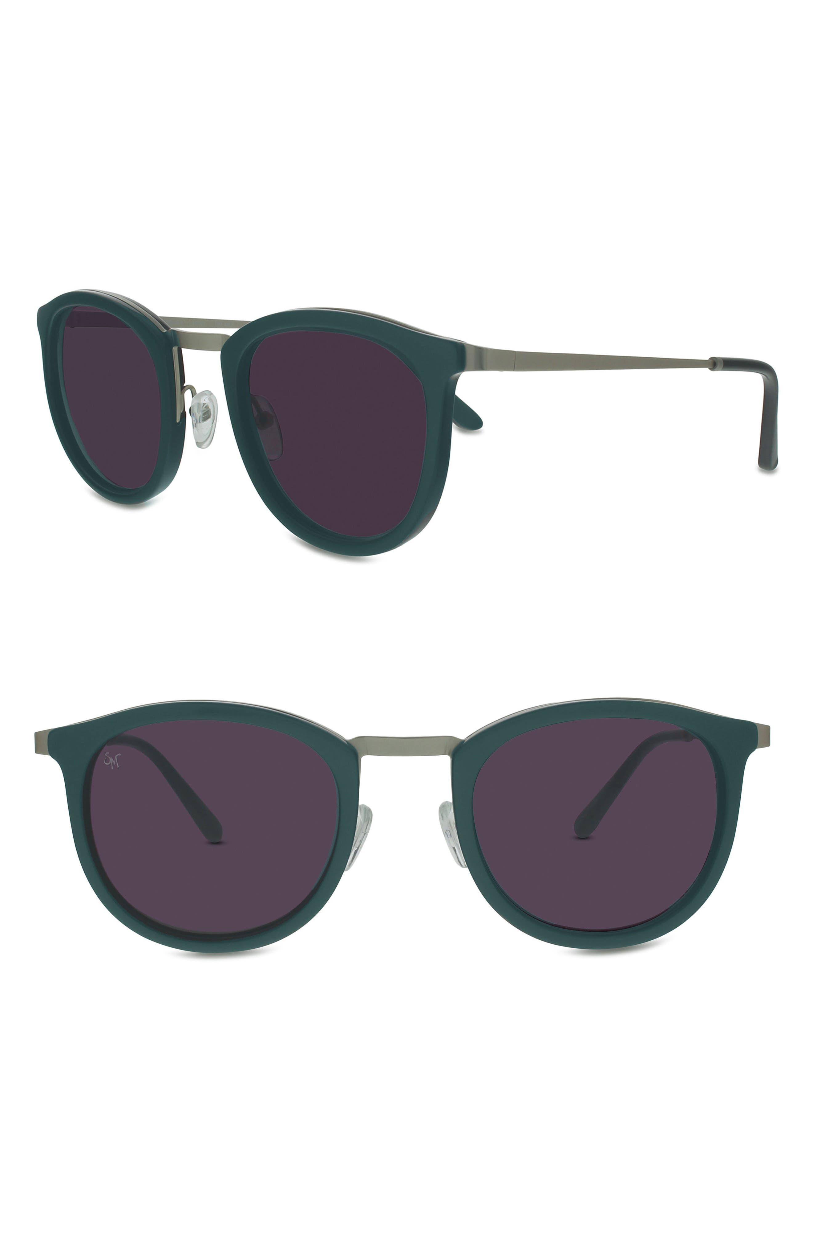 Shout 49mm Retro Sunglasses, Main, color, GREEN/ MATTE SILVER