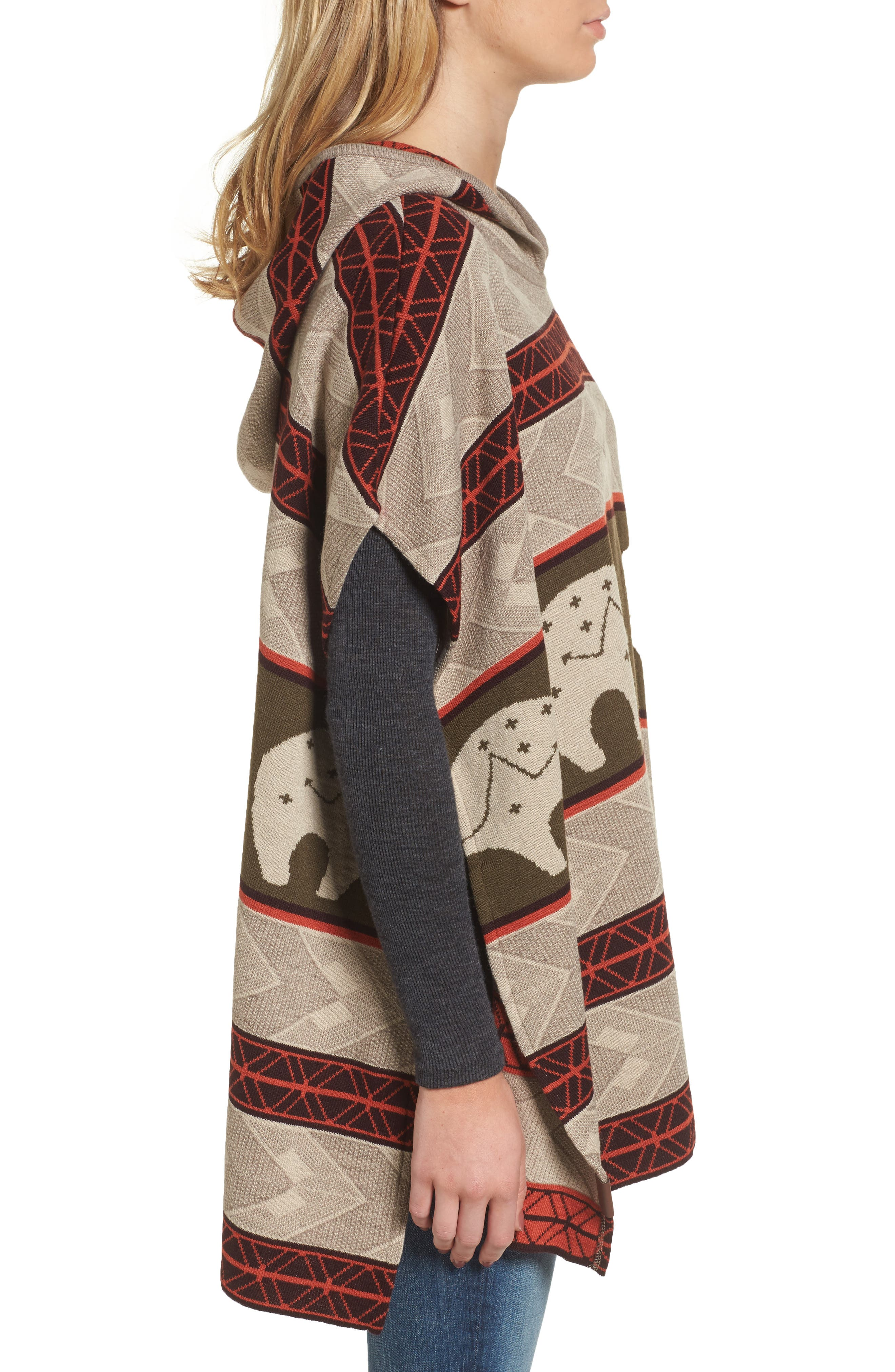 Knit Hooded Poncho,                             Alternate thumbnail 3, color,                             299