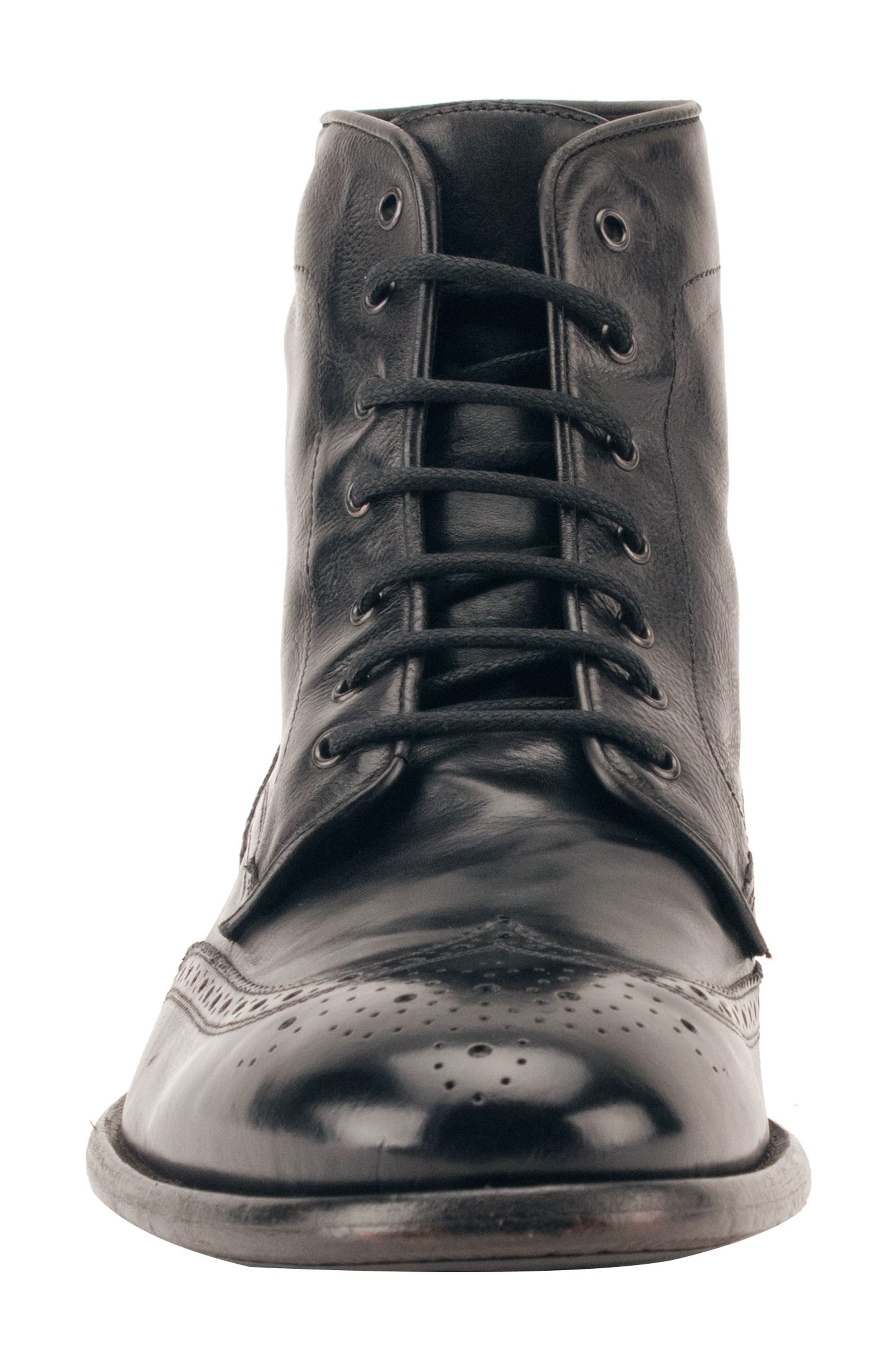 Maxfield Wingtip Boot,                             Alternate thumbnail 4, color,                             BLACK LEATHER