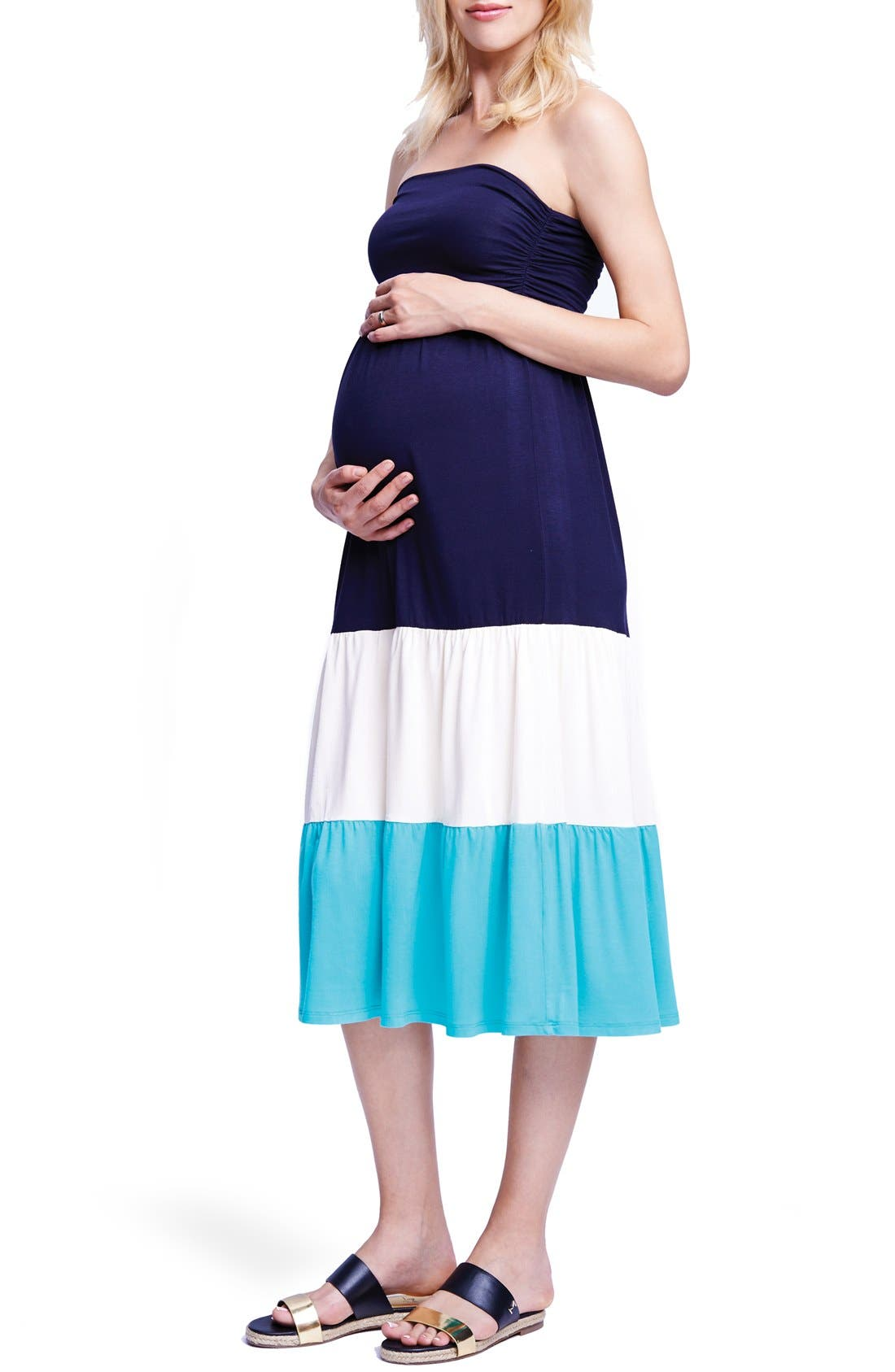 Convertible Strapless Maternity Dress,                             Main thumbnail 1, color,                             NAVY/ OFF WHITE/ MINT