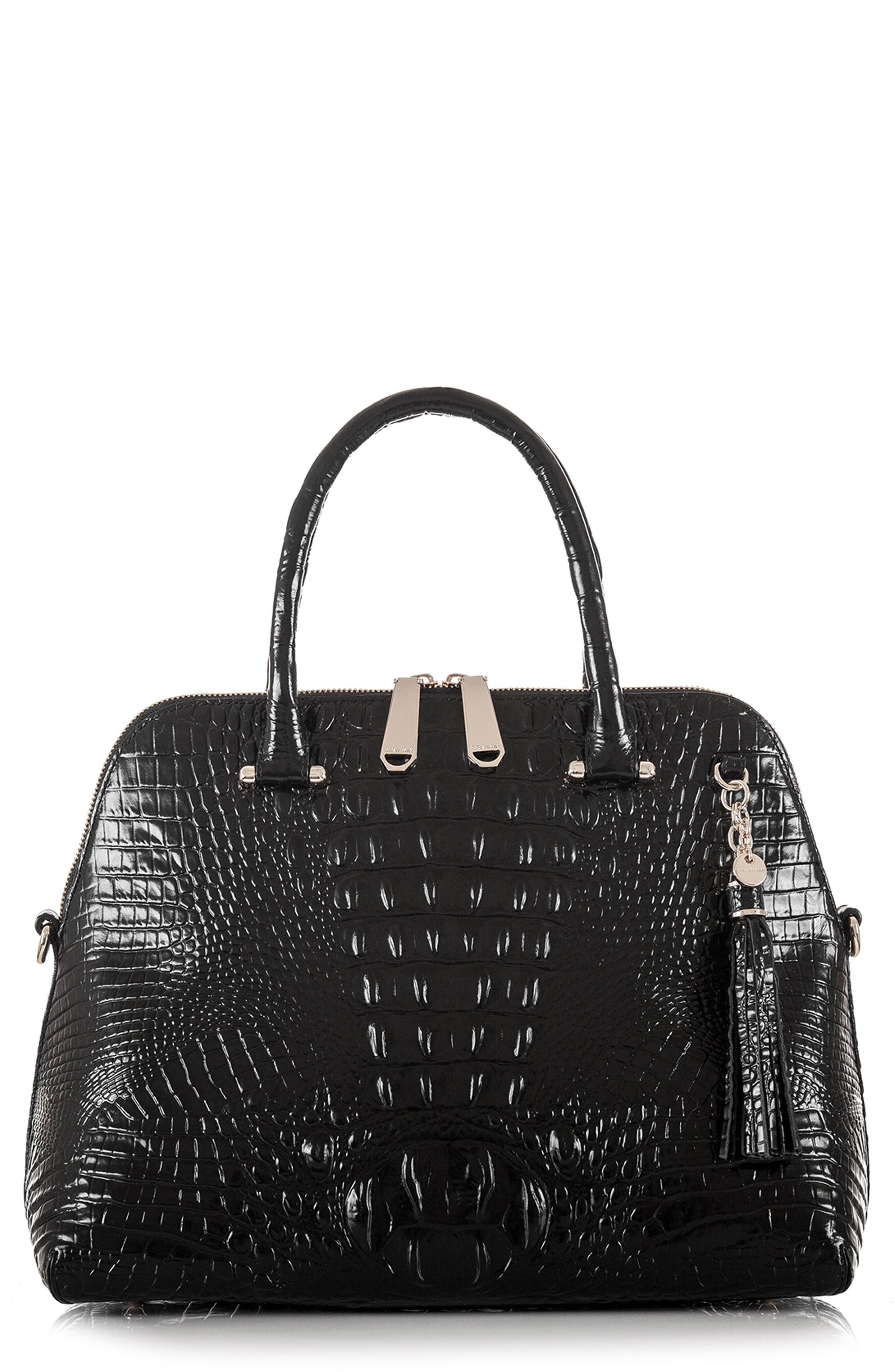 Melbourne – Sydney Croc Embossed Leather Satchel,                             Main thumbnail 1, color,                             BLACK