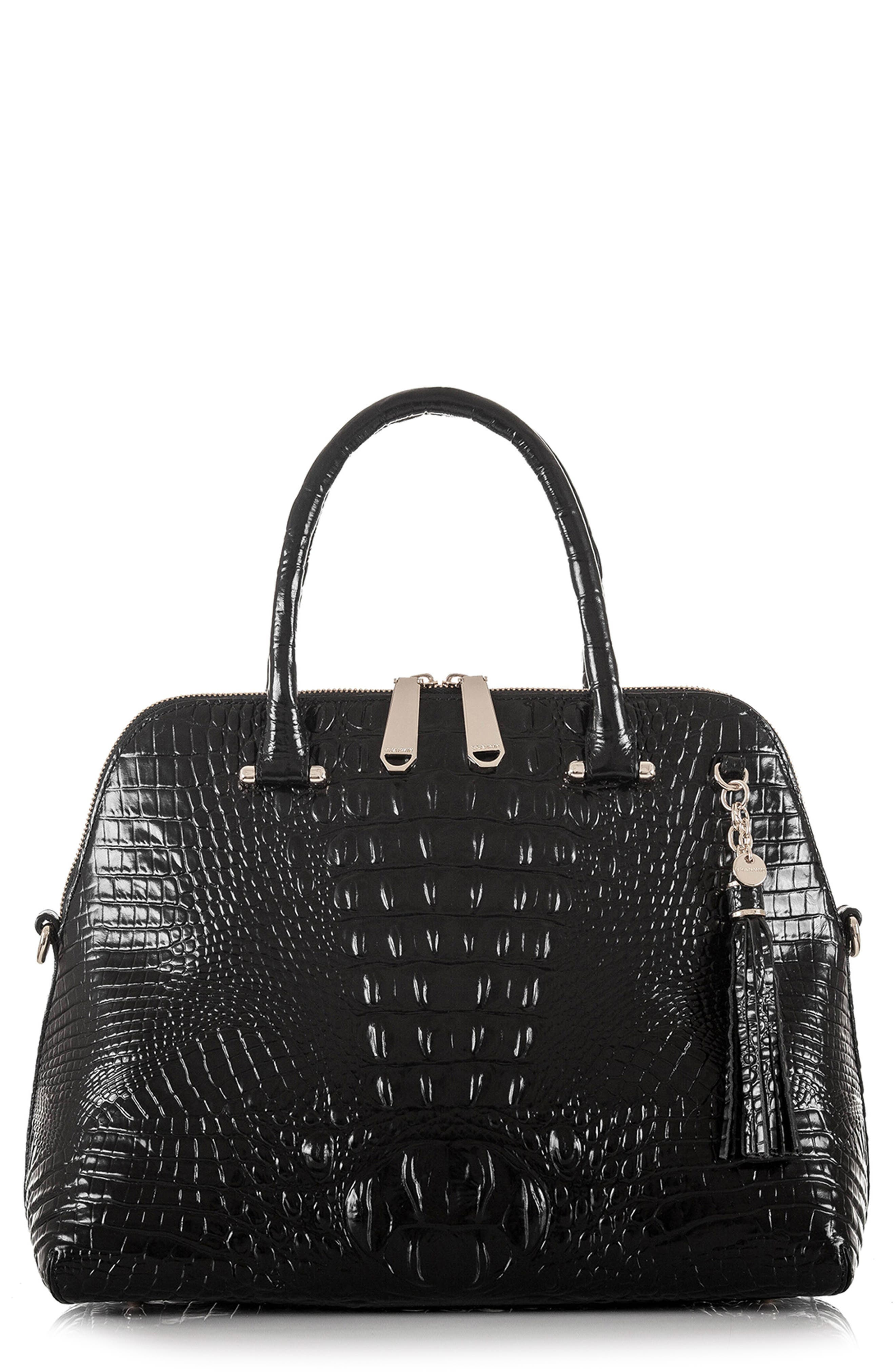 Melbourne – Sydney Croc Embossed Leather Satchel,                         Main,                         color, BLACK