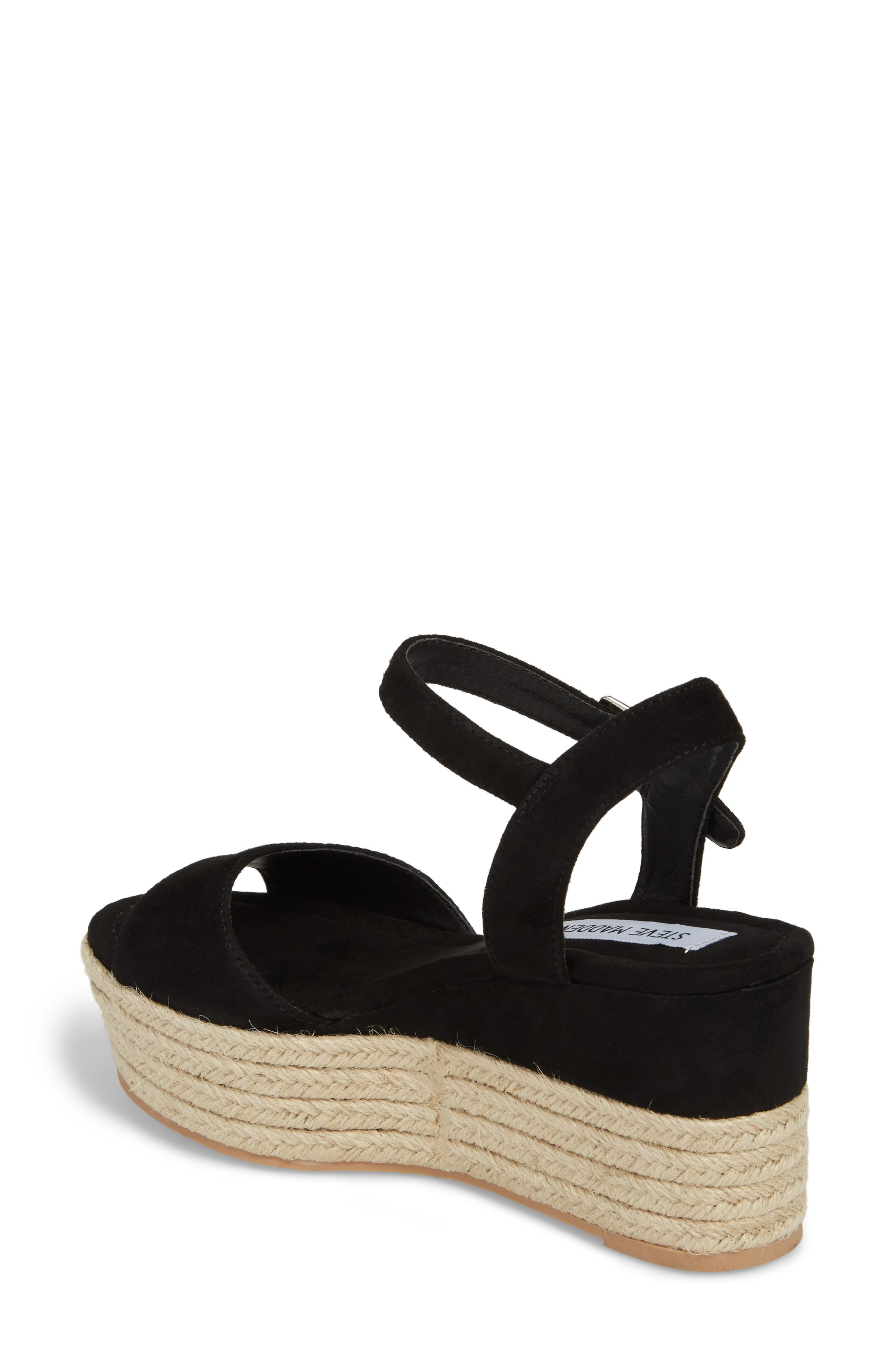 Kianna Espadrille Wedge Sandal,                             Alternate thumbnail 2, color,                             BLACK SUEDE