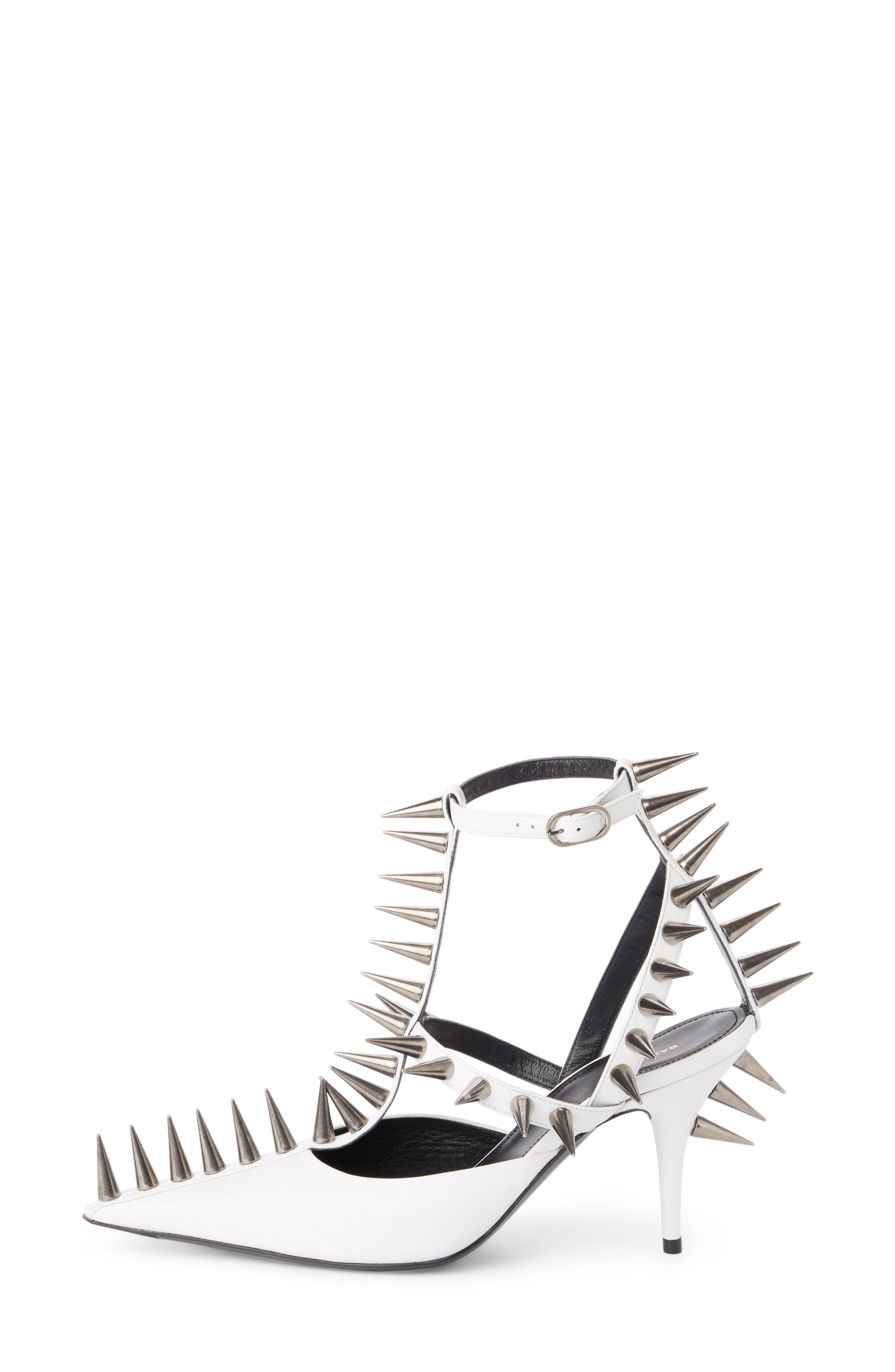 Metal Spike Slingback Pump,                             Alternate thumbnail 3, color,                             WHITE