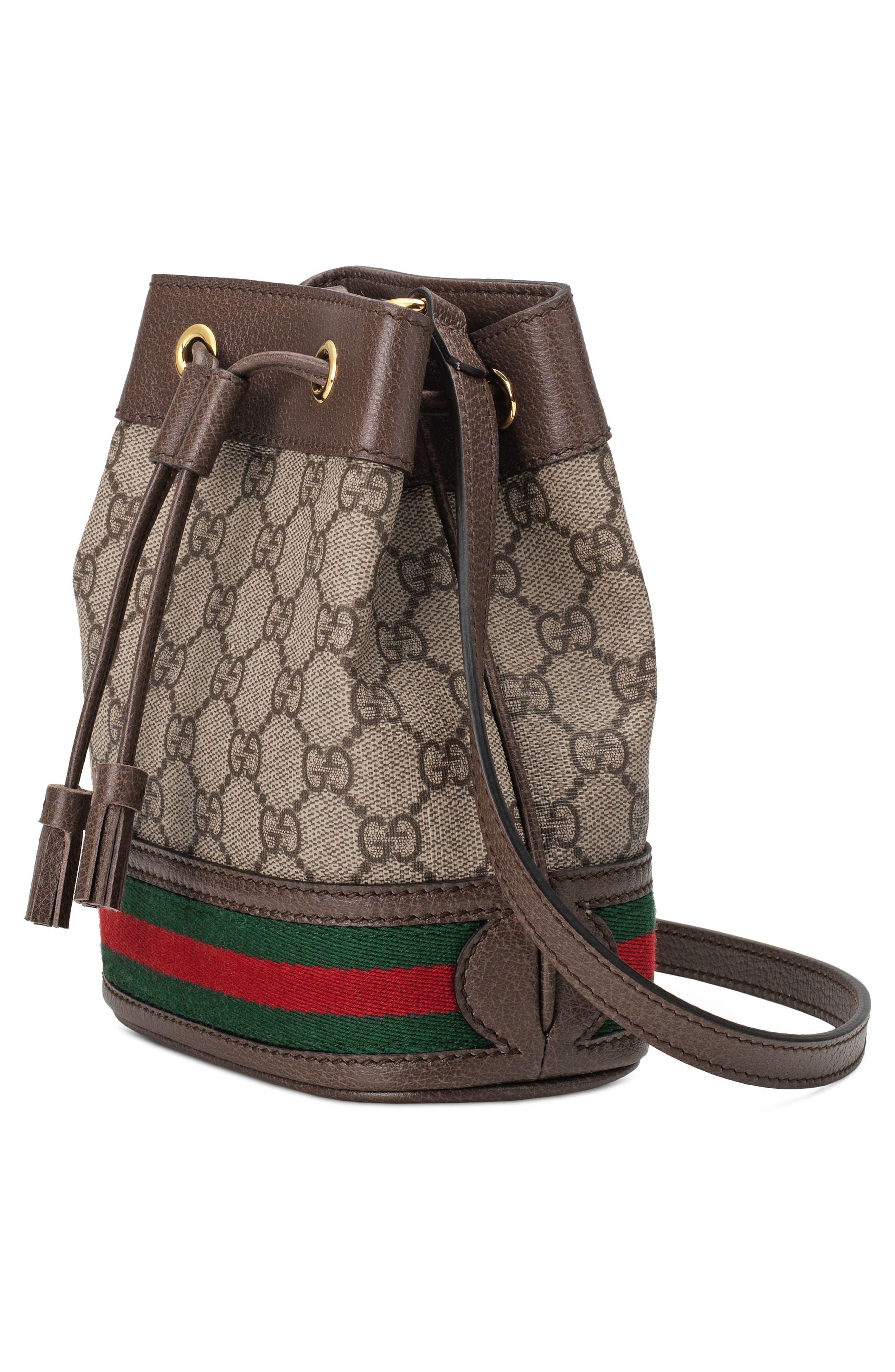 Mini Ophidia GG Supreme Bucket Bag,                             Alternate thumbnail 4, color,                             BEIGE EBONY/ NEW ACERO