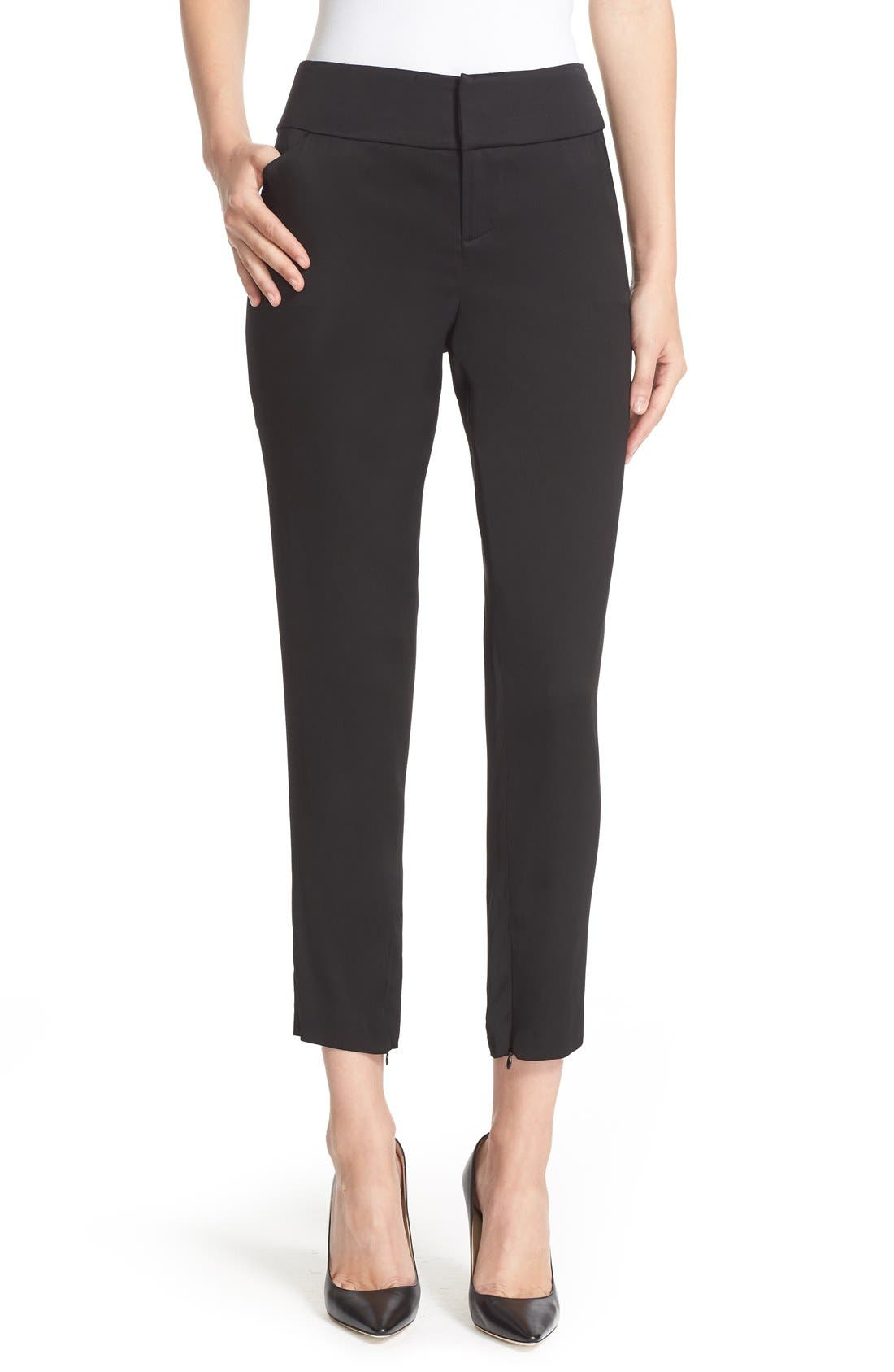 ALICE + OLIVIA Stacey Wide Waist Fitted Ankle Trousers, Main, color, 001