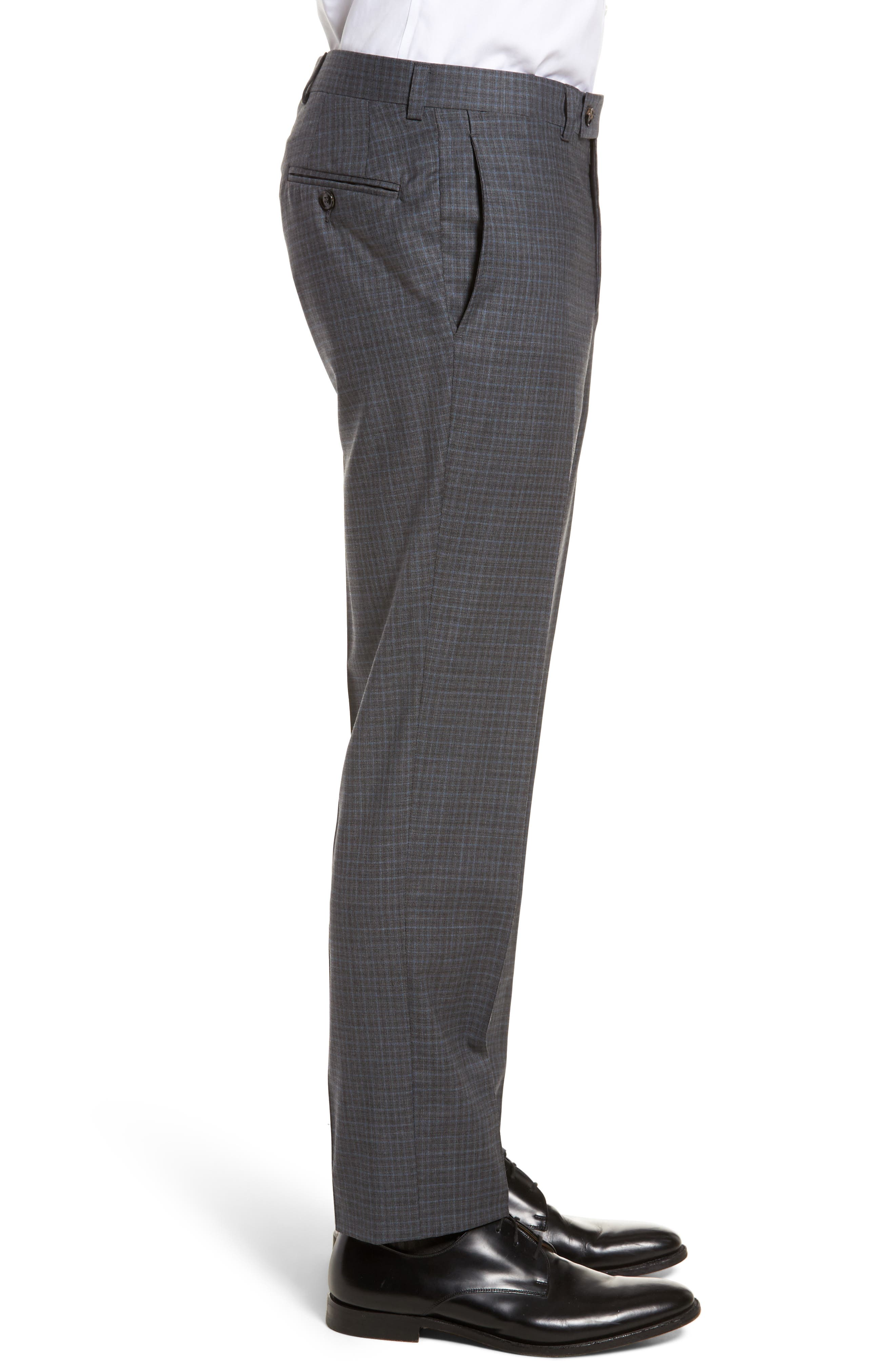 Jefferson Flat Front Check Wool Trousers,                             Alternate thumbnail 7, color,