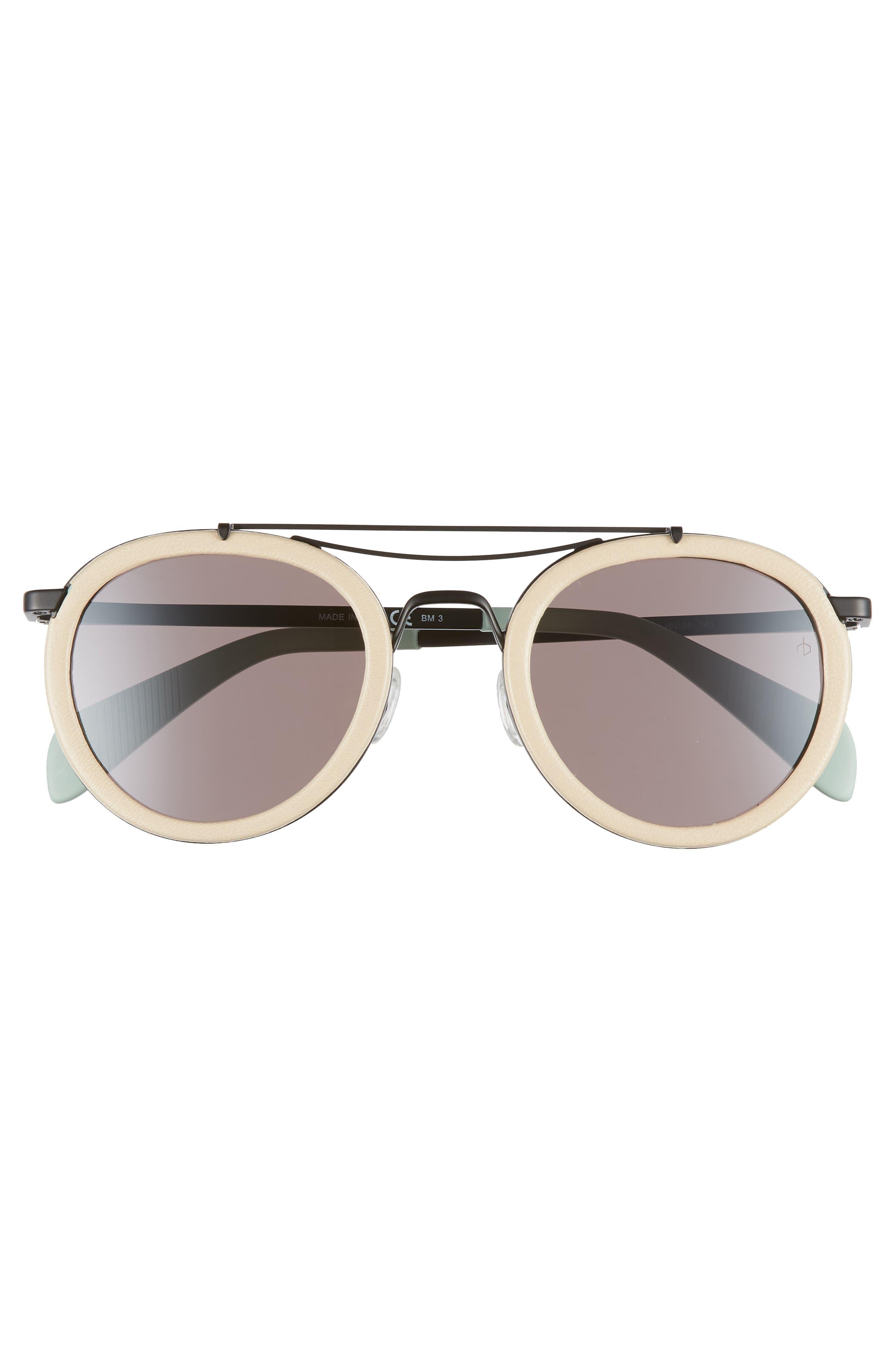 55mm Round Aviator Sunglasses,                             Alternate thumbnail 3, color,                             MATTE BLACK BEIGE
