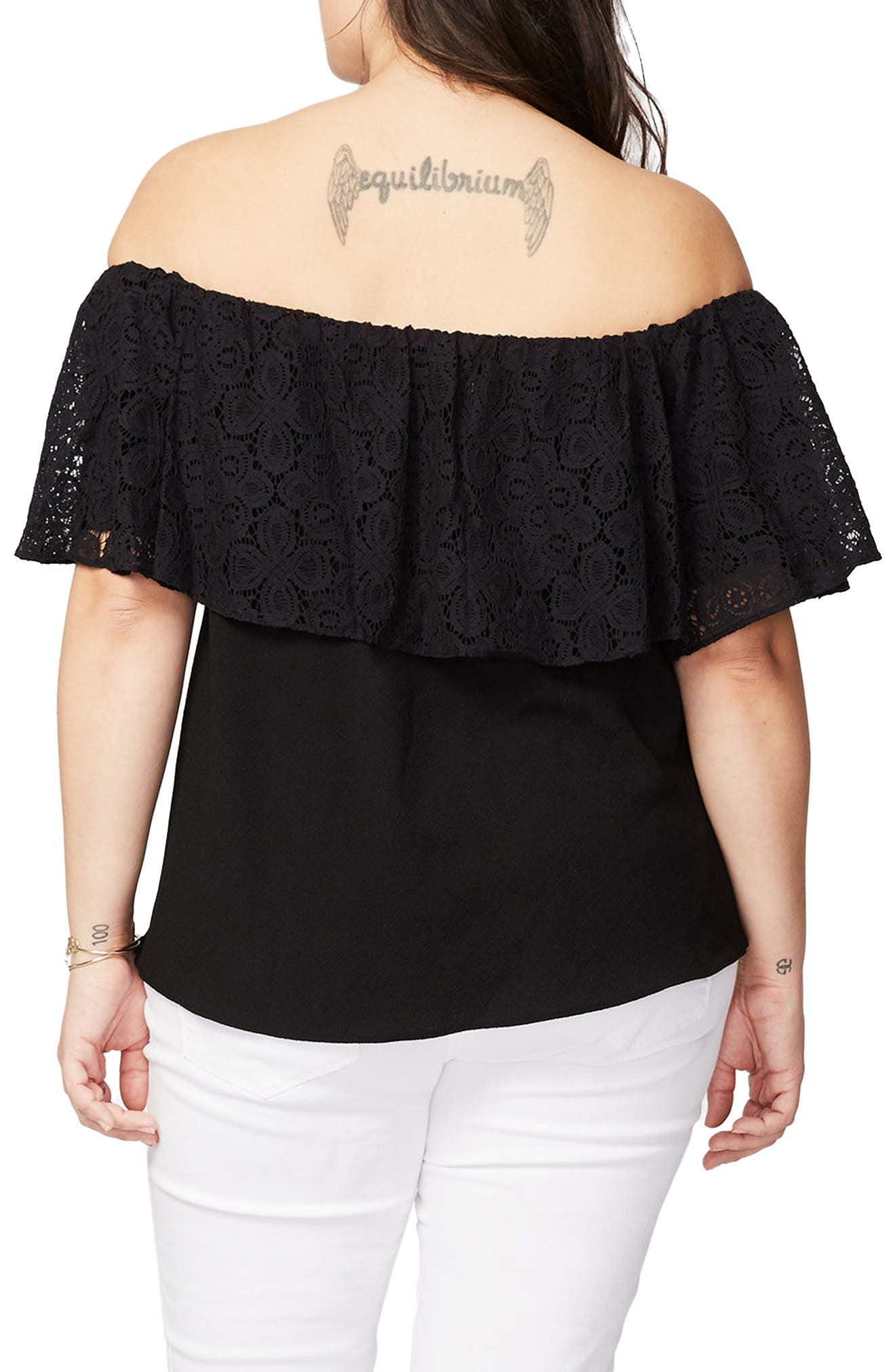RACHEL Rachel Roy Lace Ruffle Off the Shoulder Top,                             Alternate thumbnail 3, color,