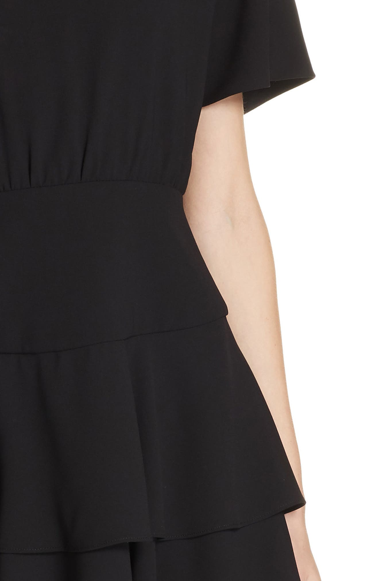 Palmira Tiered Fit & Flare Minidress,                             Alternate thumbnail 4, color,                             001