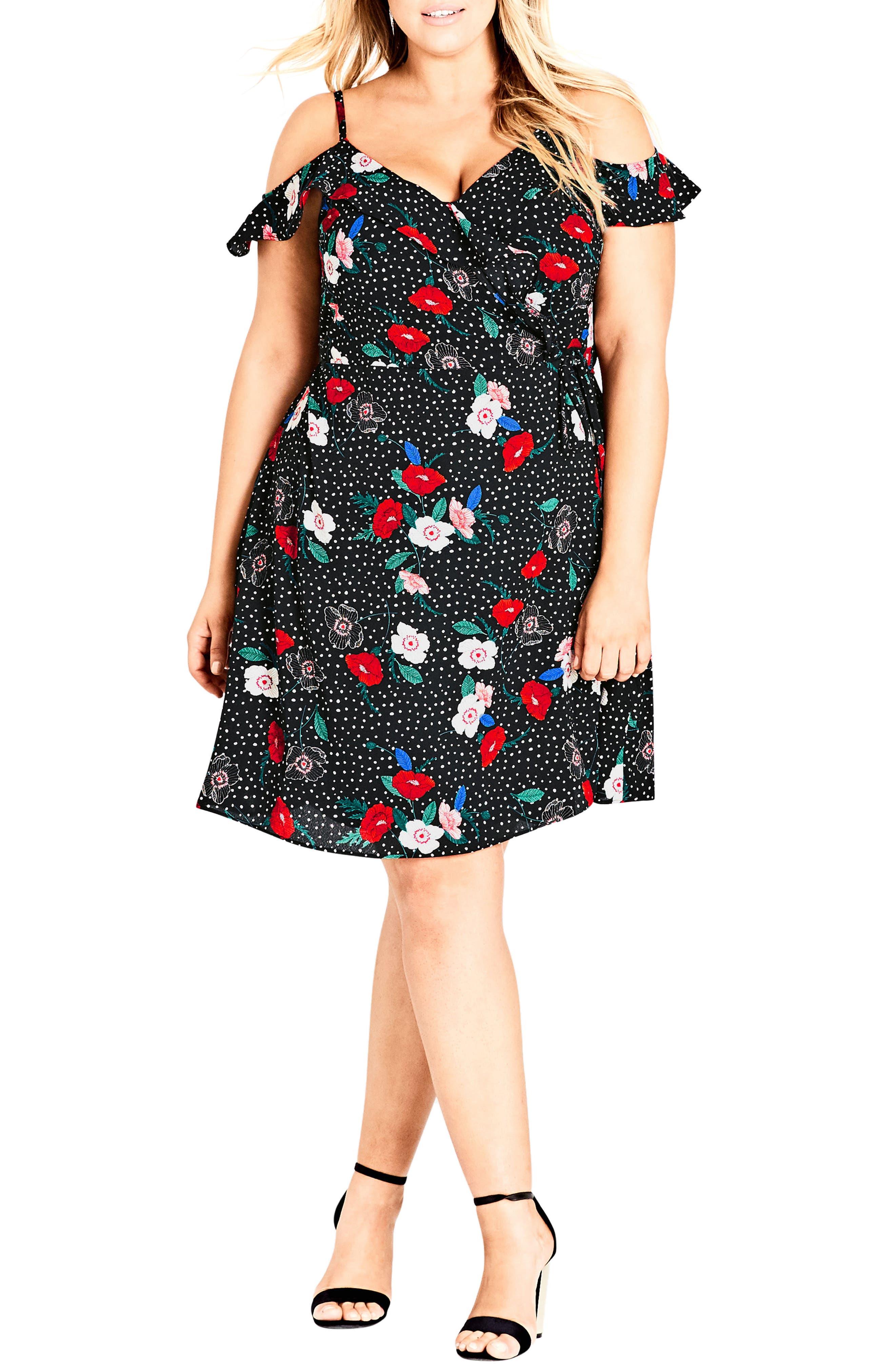Plus Size City Chic Floral Spot Cold Shoulder Wrap Dress, Black
