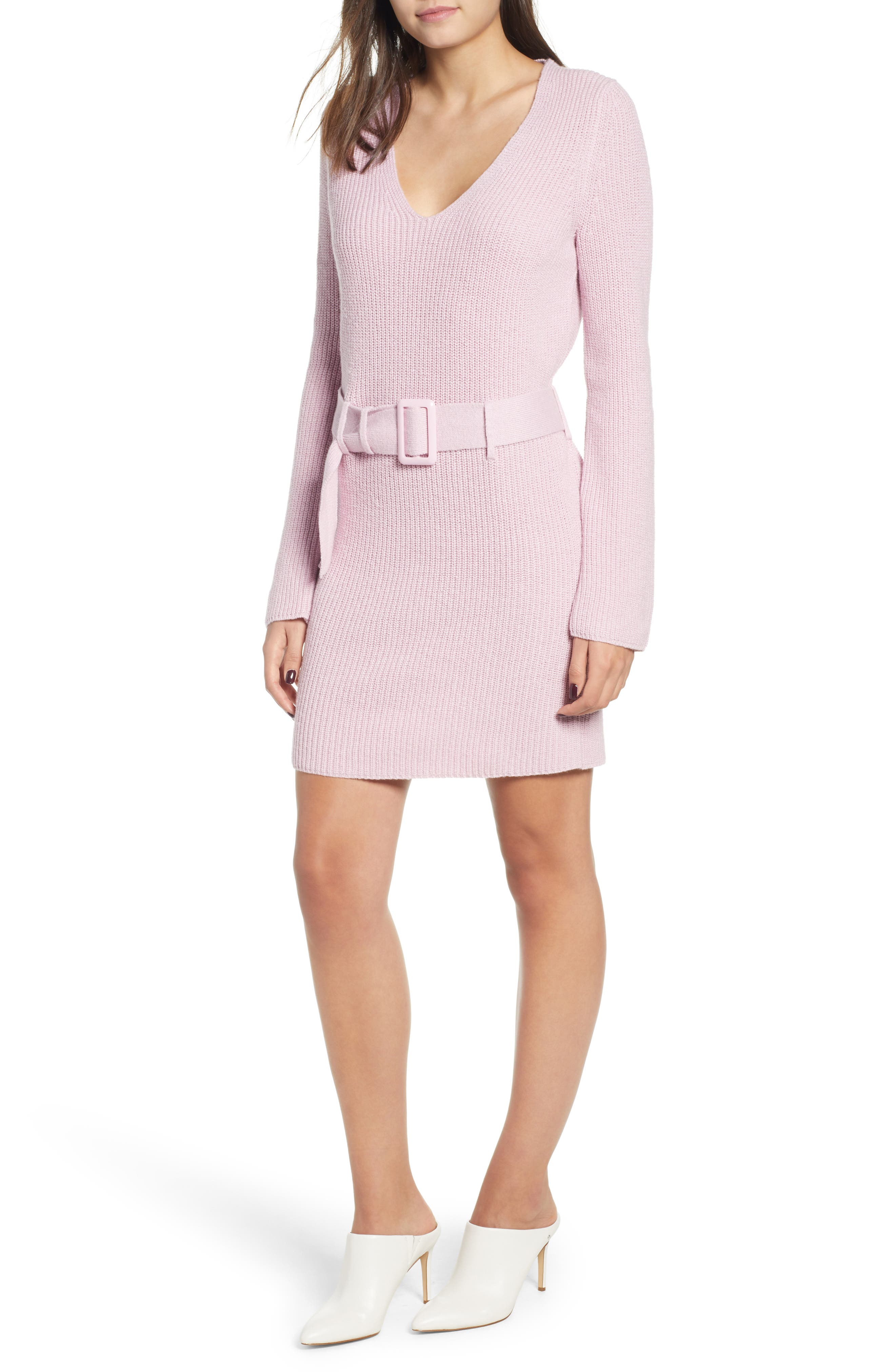 Leith Belted Sweater Dress, Purple