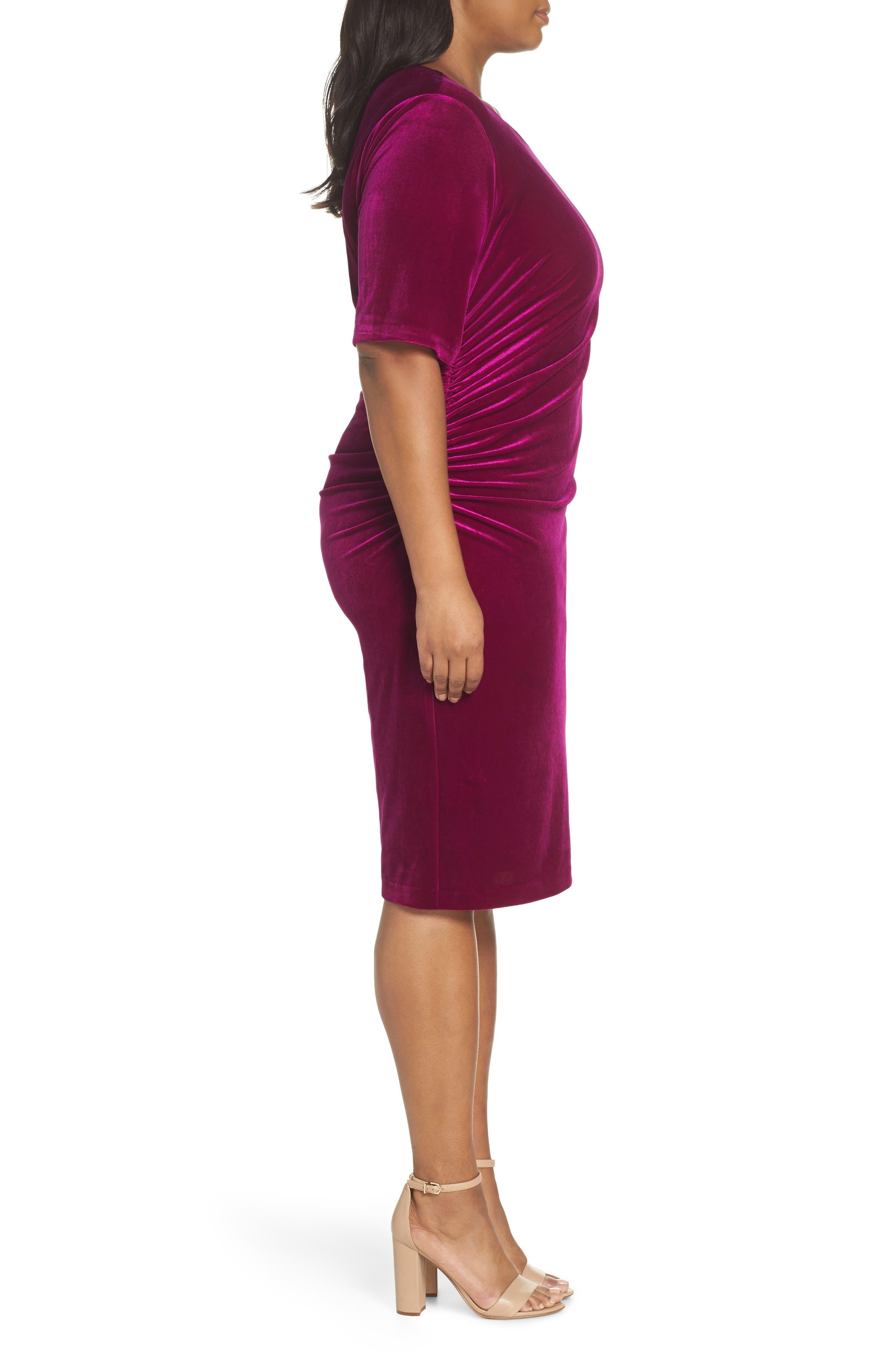 Velvet Side Ruche Body-Con Dress,                             Alternate thumbnail 3, color,                             FUSCHIA