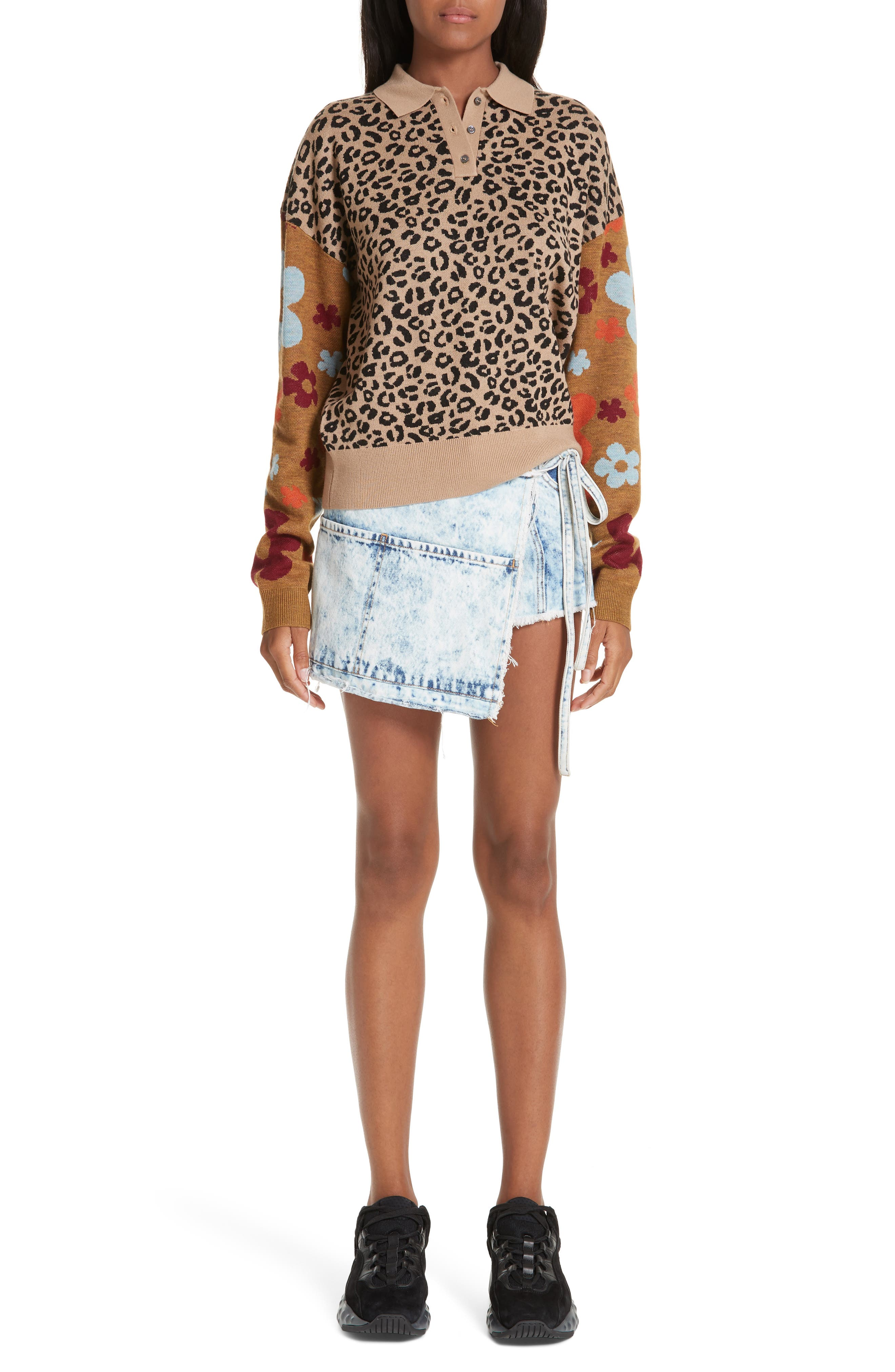 SANDY LIANG,                             Paw Paw Polo Sweater,                             Alternate thumbnail 8, color,                             LEOPARD FLORAL