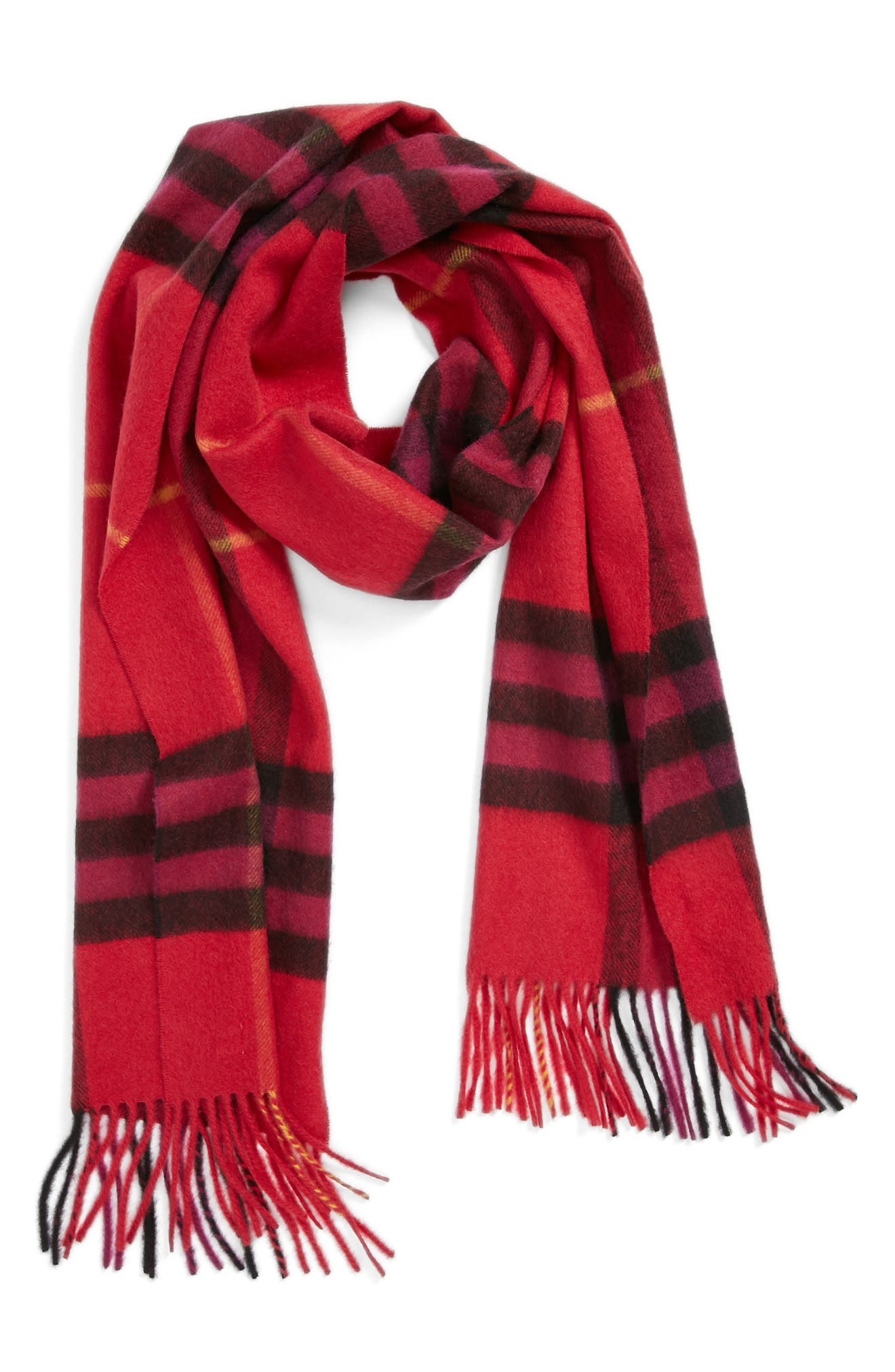Heritage Giant Check Fringed Cashmere Muffler,                             Alternate thumbnail 2, color,                             FUSCHIA PINK