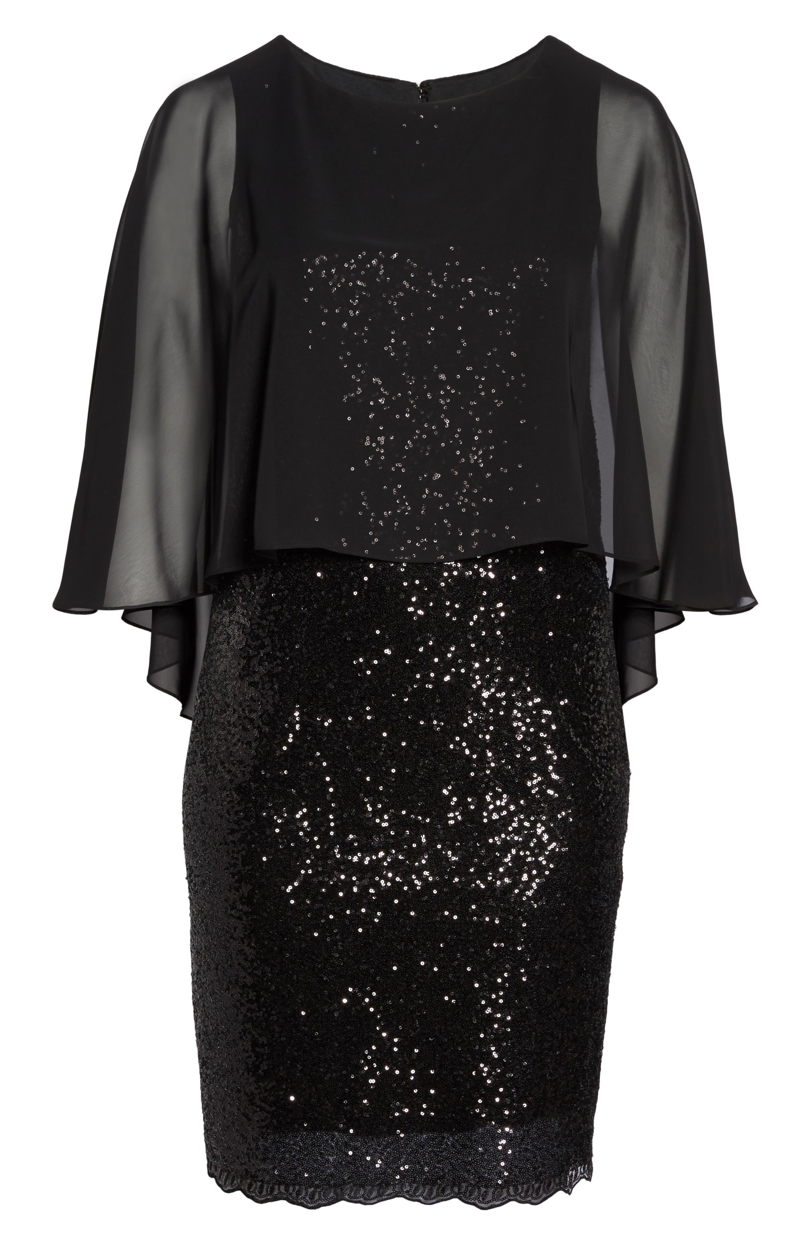 Capelet Sequin Shift Dress,                             Alternate thumbnail 6, color,                             001