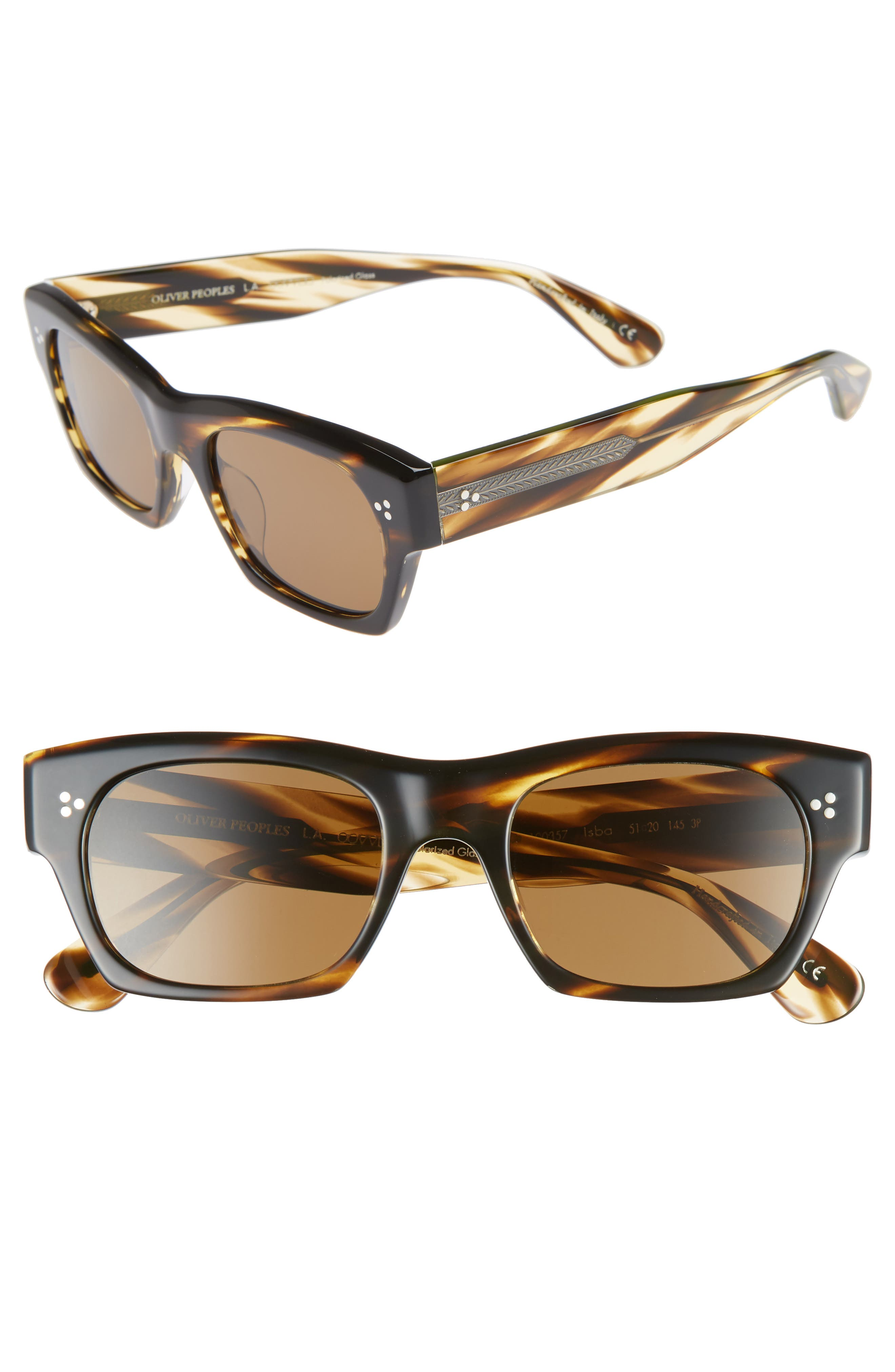 OLIVER PEOPLES Women'S Isba Polarized Rectangular Sunglasses, 51Mm in Cocobolo